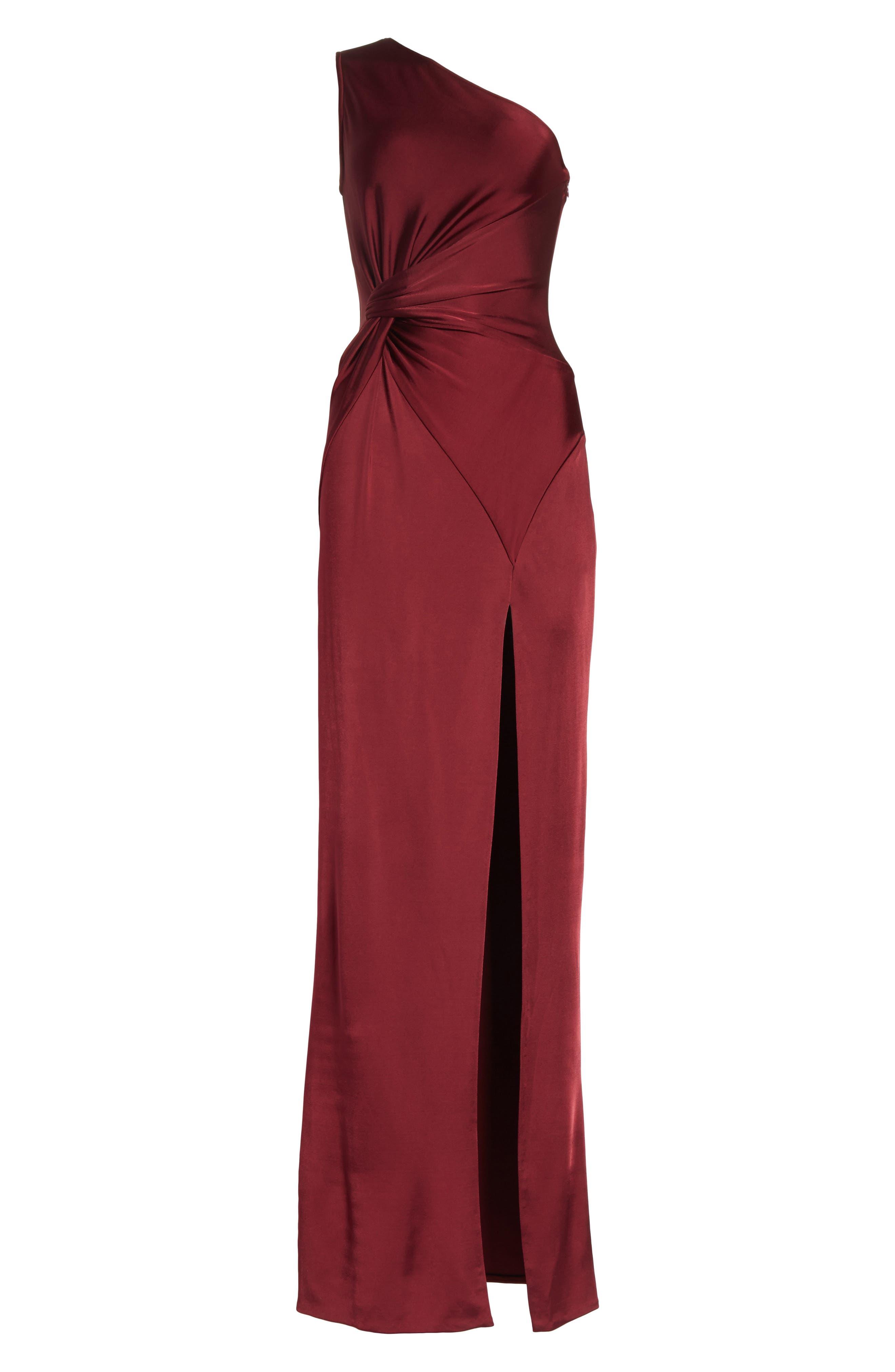 One-Shoulder Twist Gown,                             Alternate thumbnail 7, color,                             AUBURN