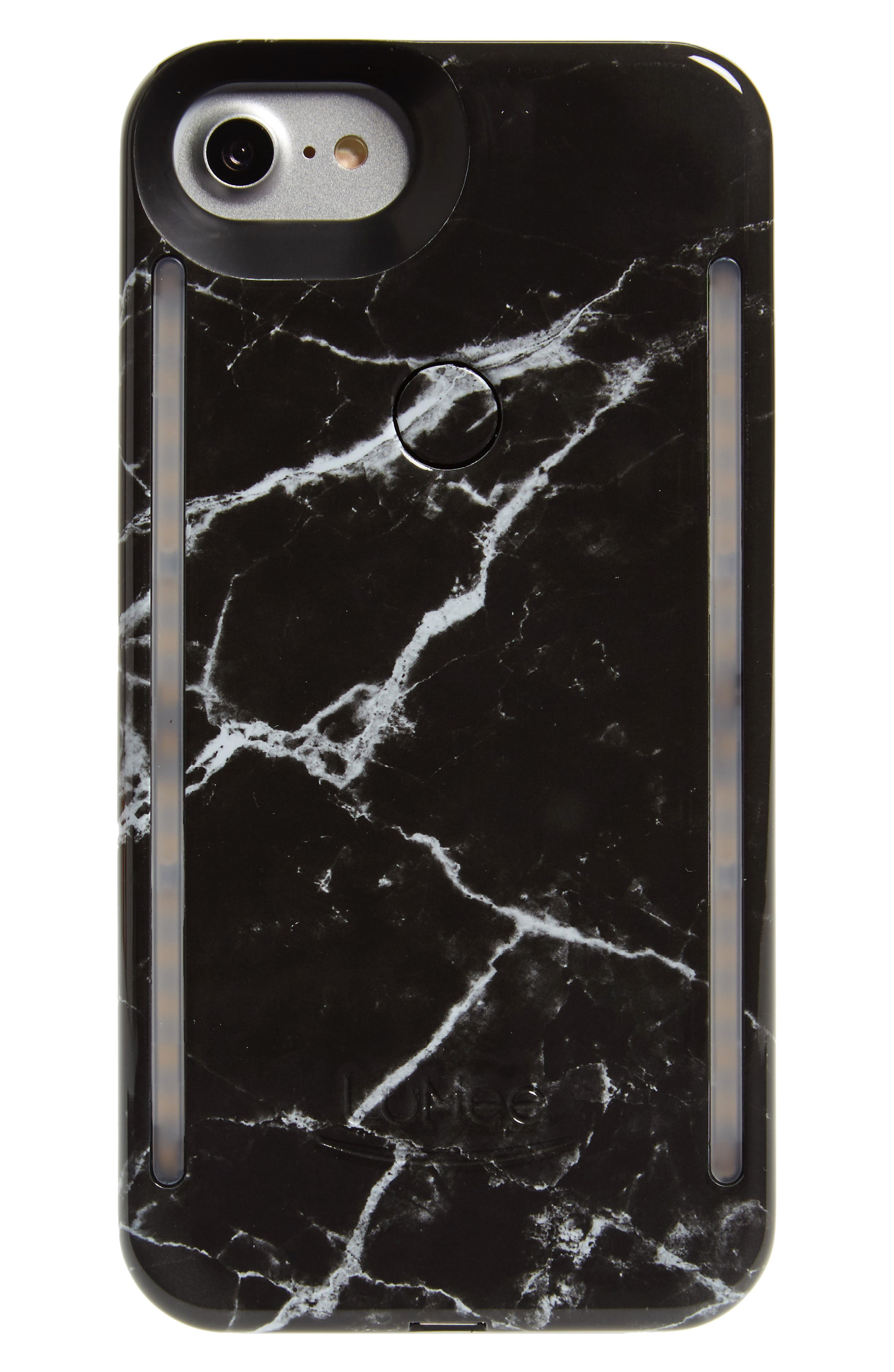 Duo Lighted iPhone 6/7/8 & 6/7/8 Plus Case,                             Main thumbnail 1, color,                             BLACK MARBLE
