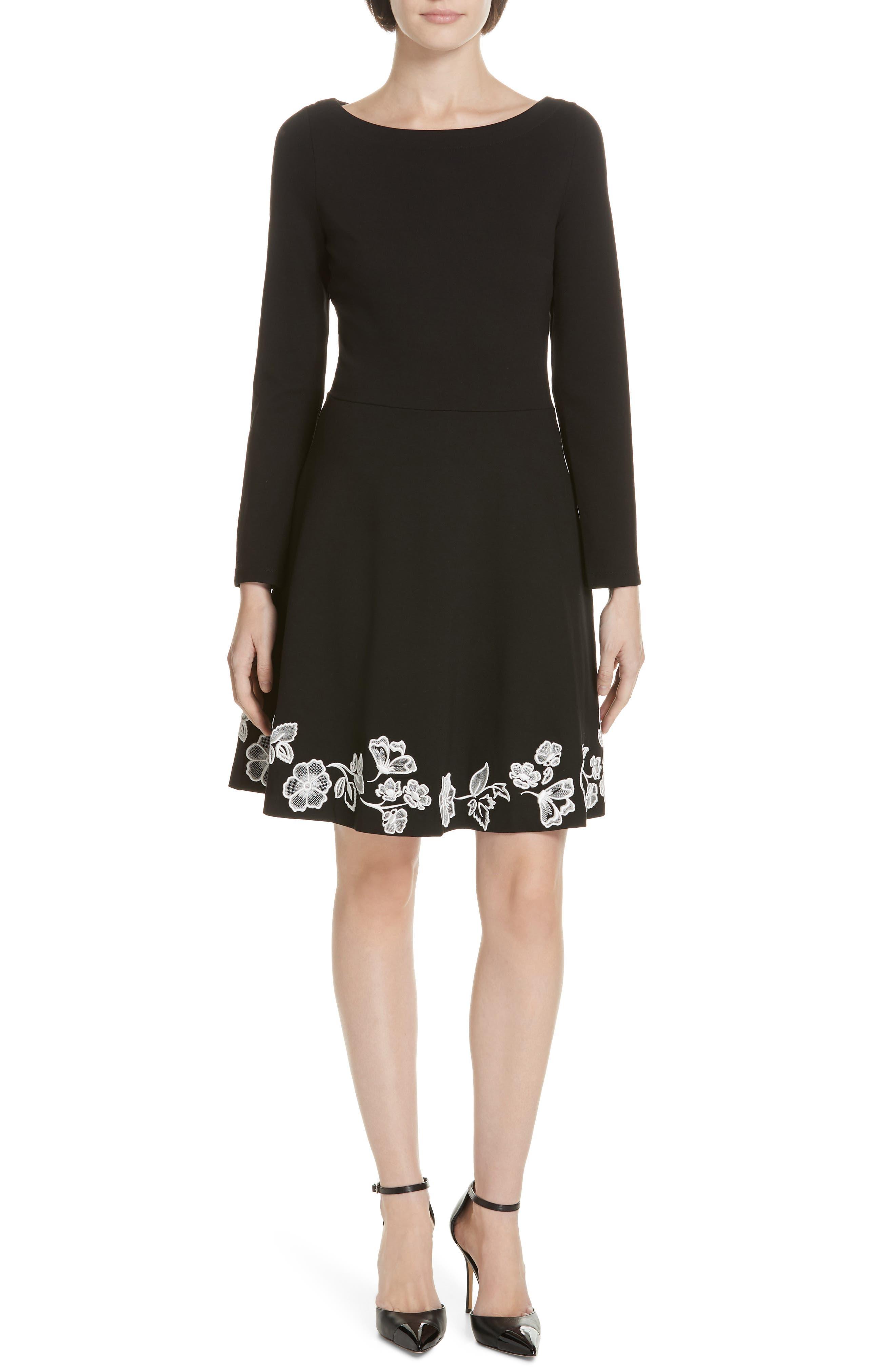 embroidered ponte fit & flare dress, Main, color, BLACK