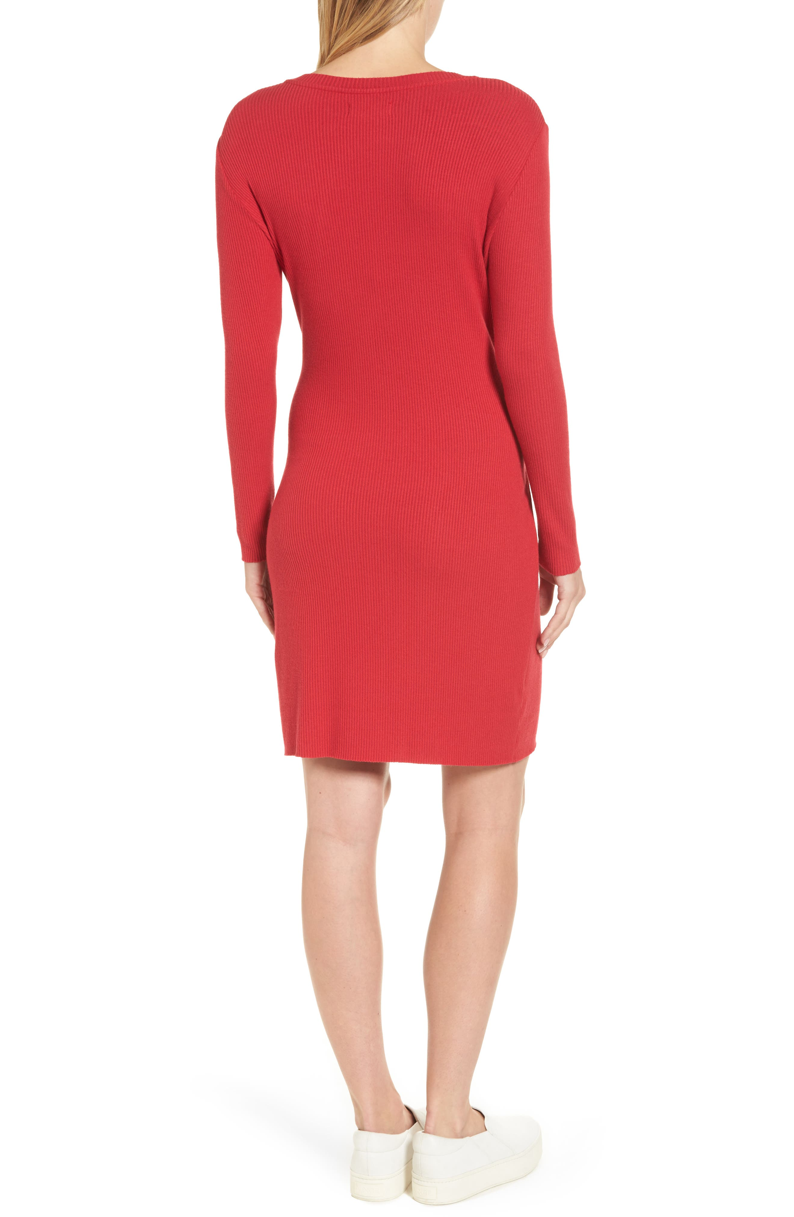 Ribbed Tie-Waist Sweater Dress,                             Alternate thumbnail 2, color,                             600