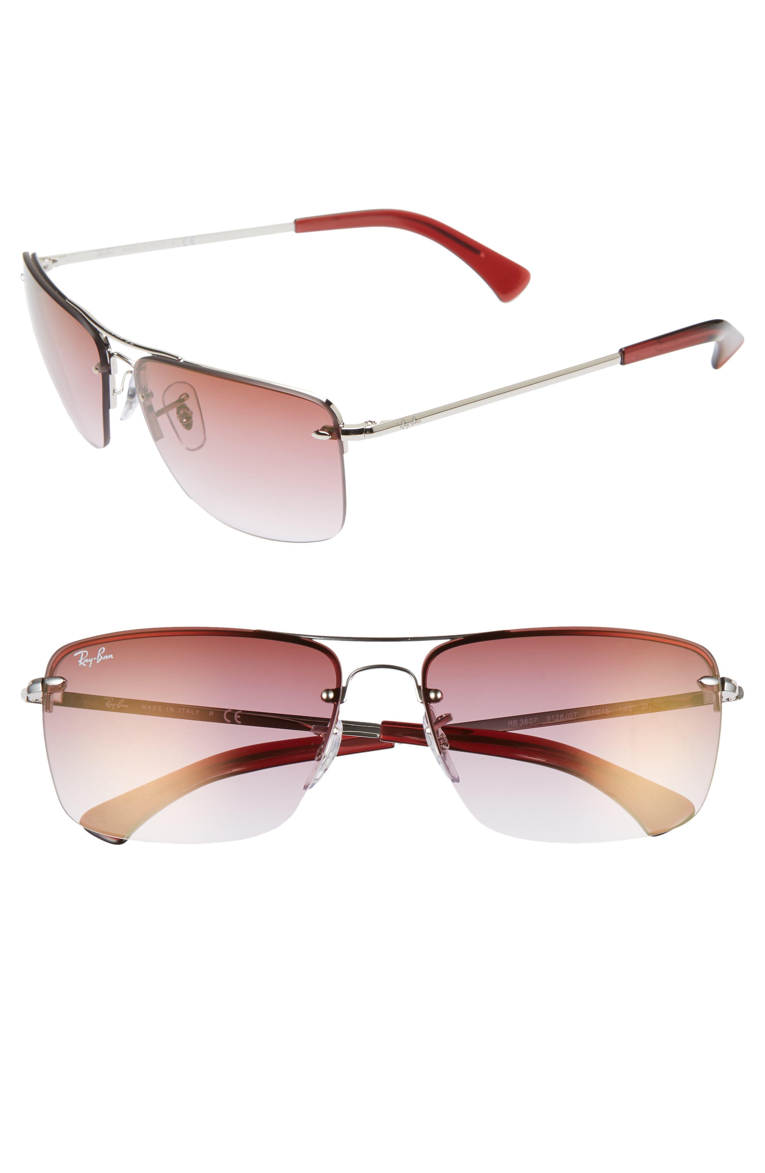 61mm Rimless Navigator Sunglasses,                         Main,                         color, SILVER/ BORDEAUX GRADIENT