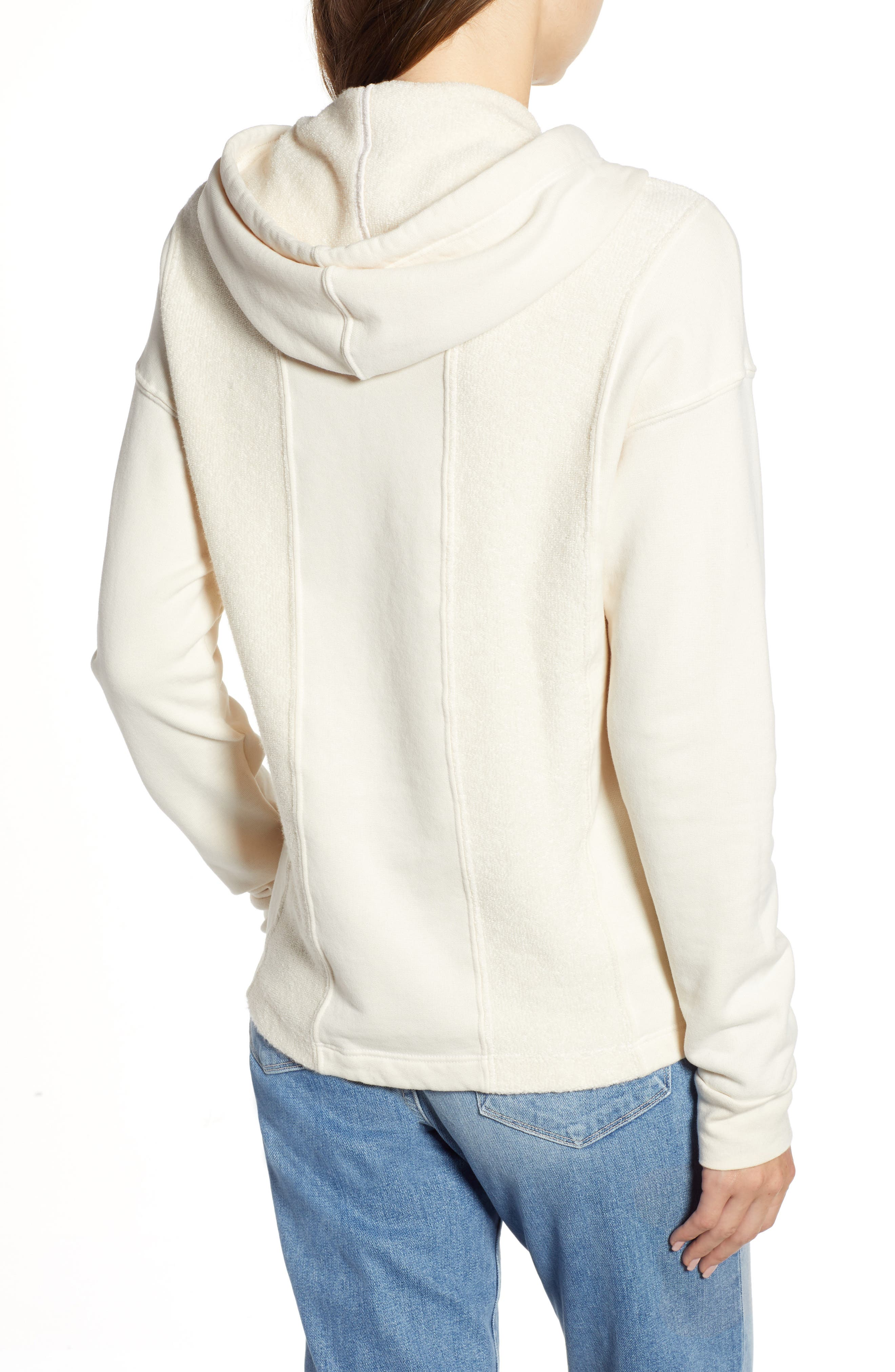 French Terry Hoodie,                             Alternate thumbnail 2, color,                             CREAM