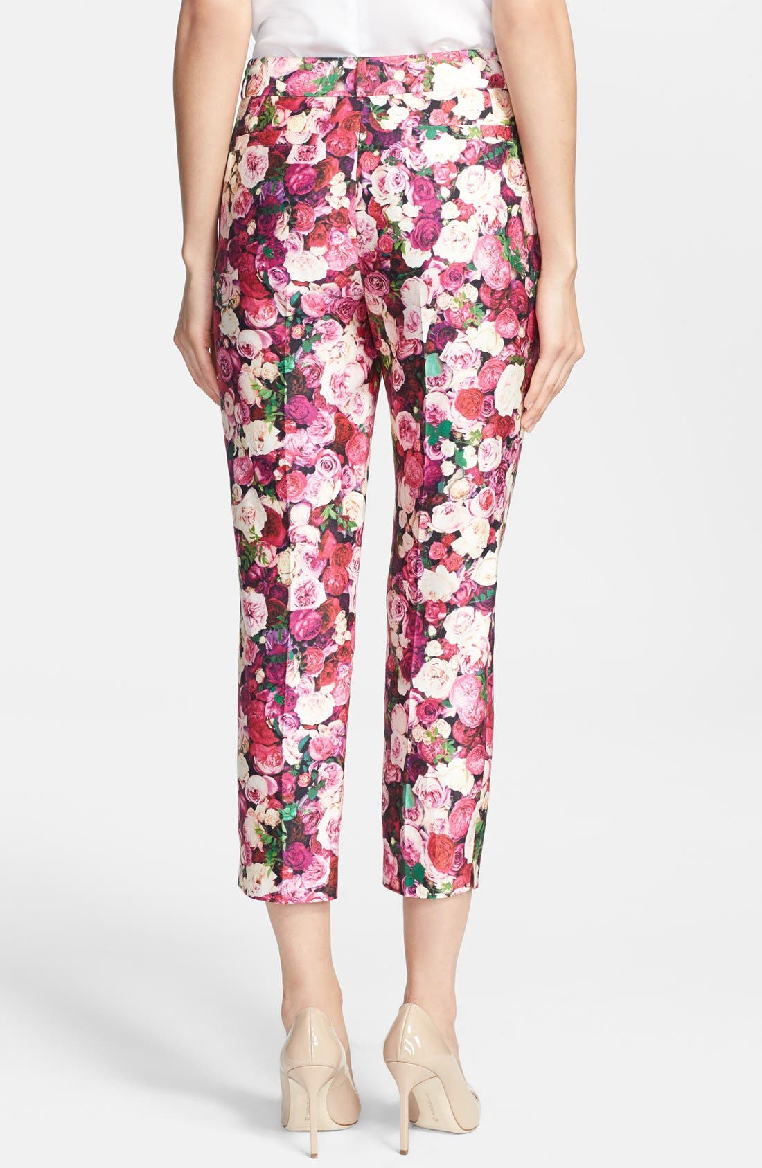 KATE SPADE NEW YORK,                             'jackie' rose print cotton & silk capri pants,                             Alternate thumbnail 2, color,                             655