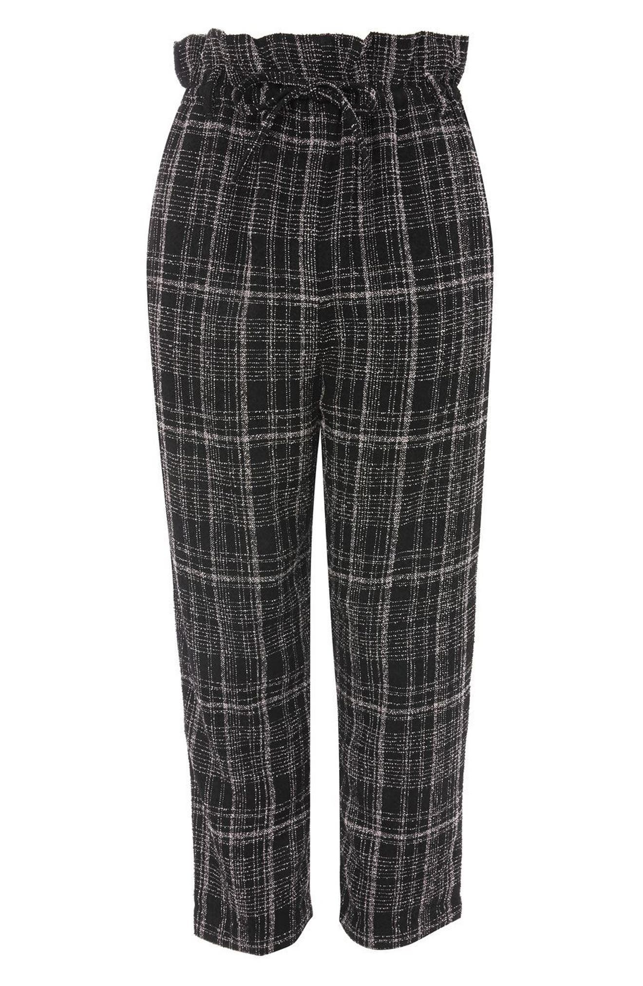 Neppy Checked Paperbag Trousers,                             Alternate thumbnail 3, color,                             001