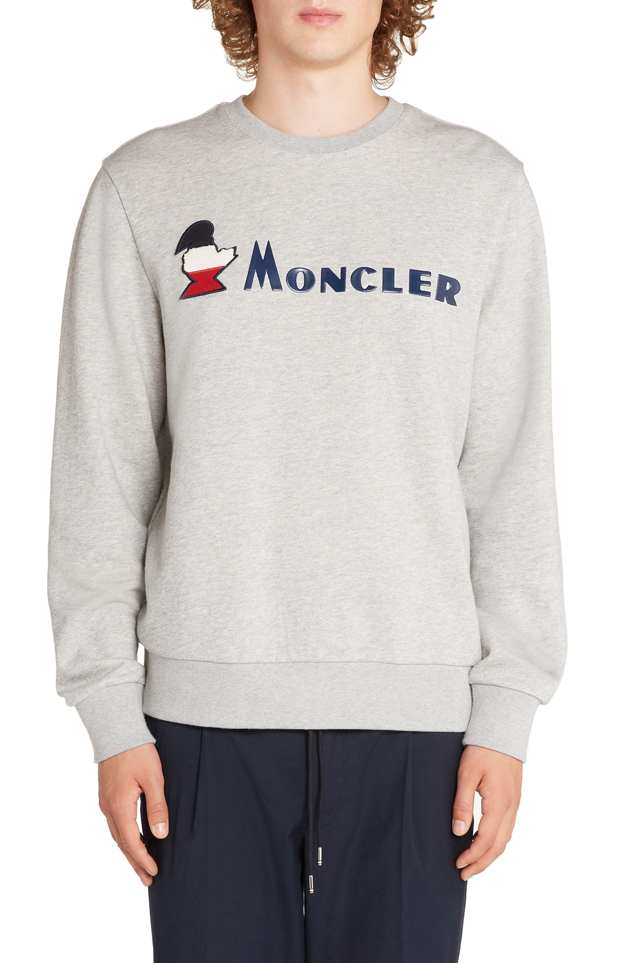 MONCLER,                             Logo Crewneck Sweatshirt,                             Main thumbnail 1, color,                             DARK GREY