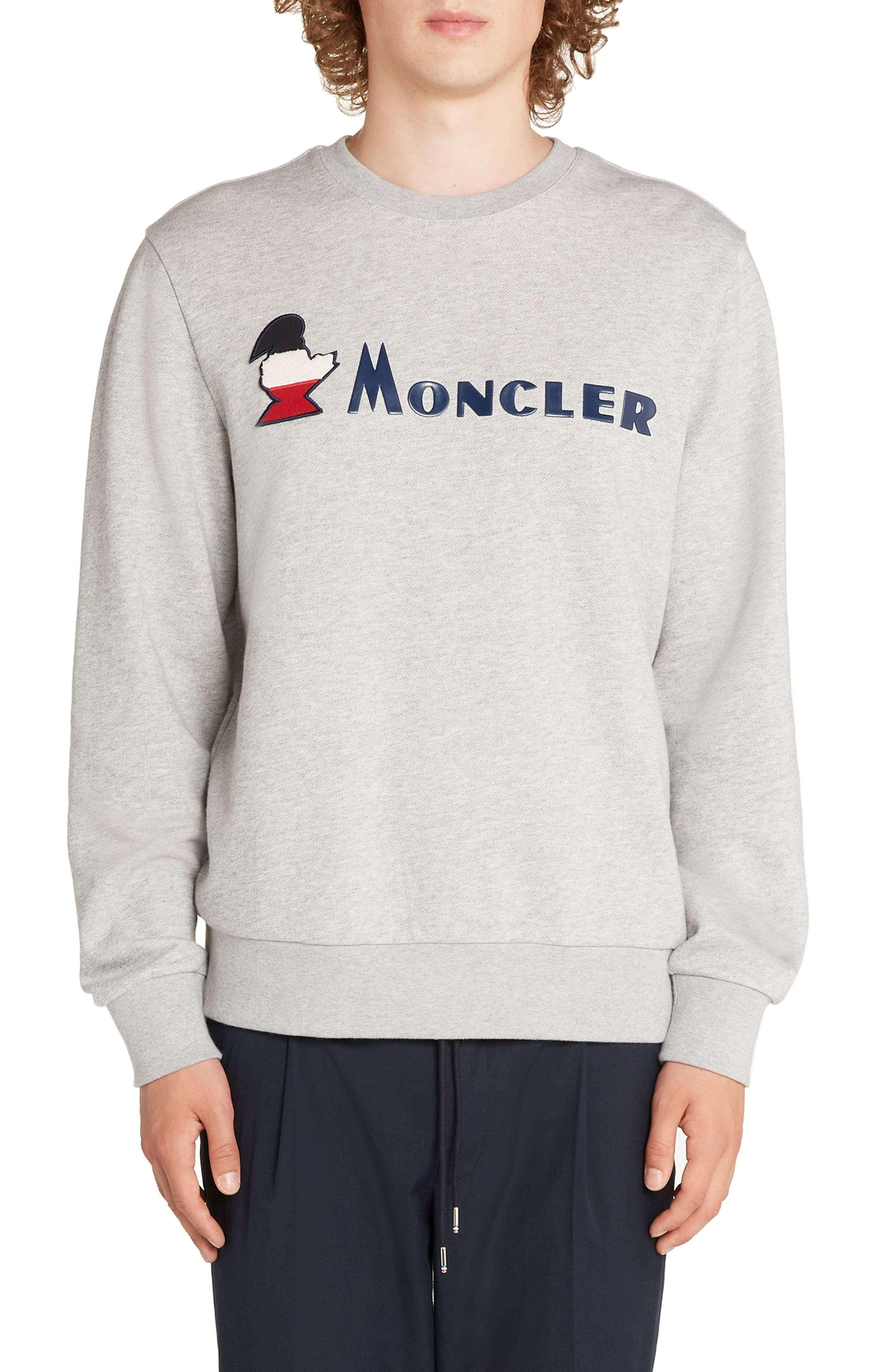 MONCLER Logo Crewneck Sweatshirt, Main, color, DARK GREY