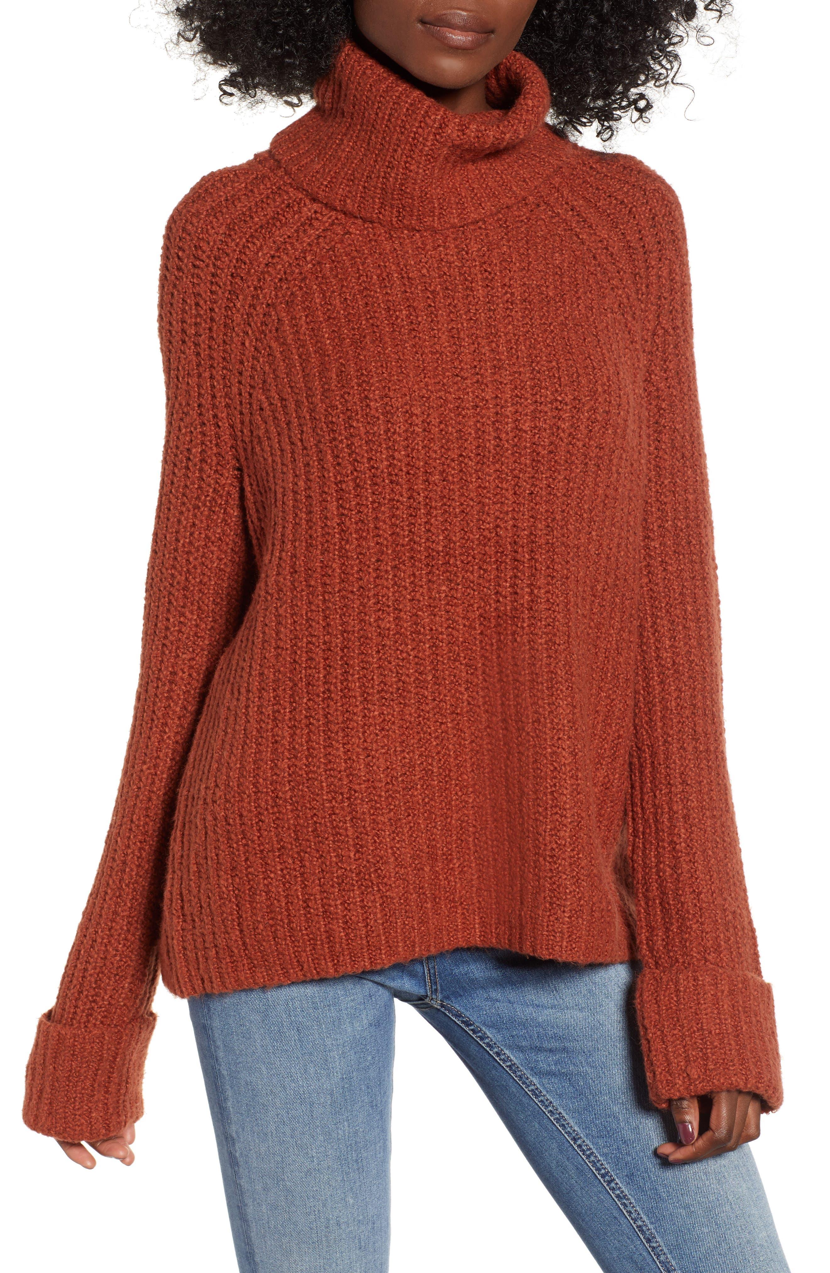 Cozy Turtleneck Sweater,                             Main thumbnail 1, color,                             RUST SEQUOIA