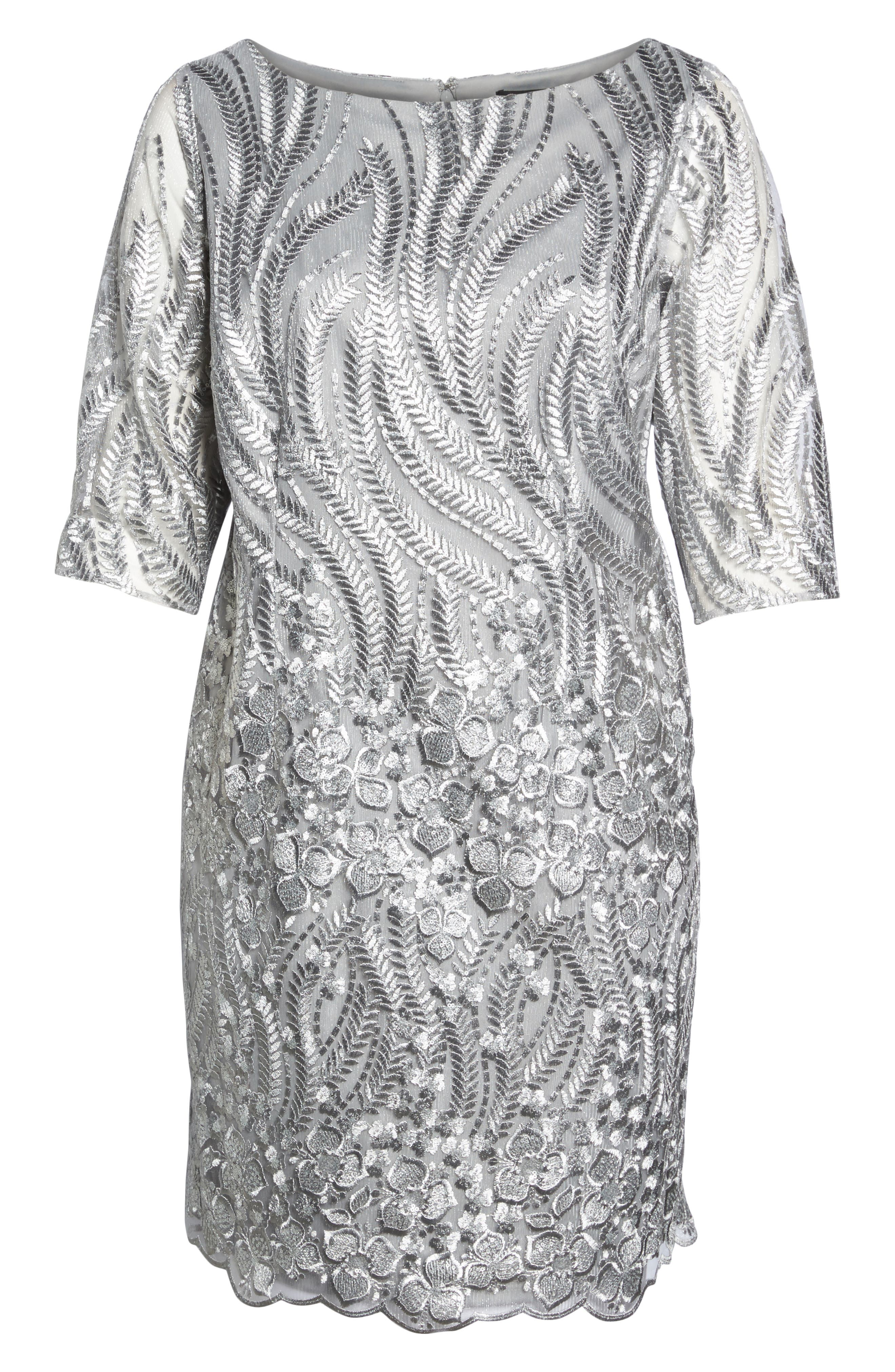 Sequin Embroidered Lace Sheath Dress,                             Alternate thumbnail 6, color,                             020