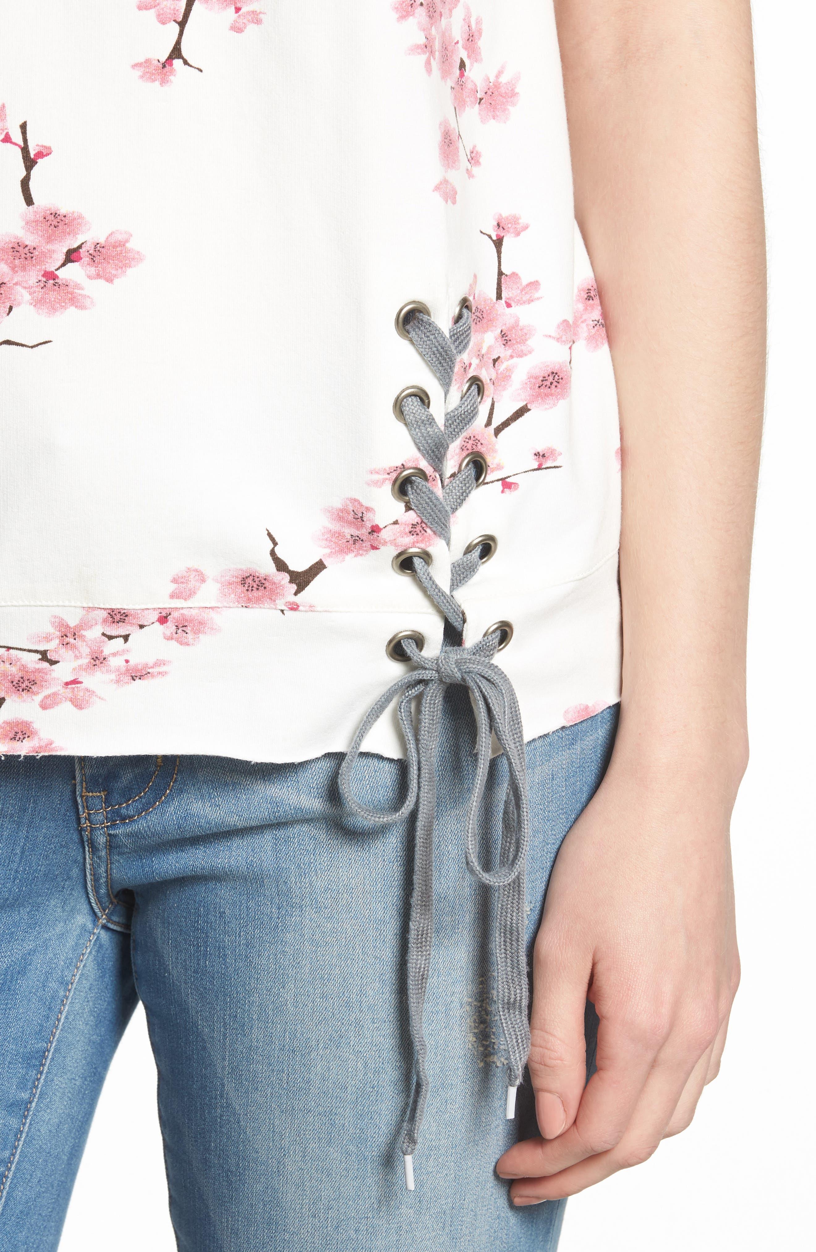 Cherry Blossom Short Sleeve Lace-Up Sweatshirt,                             Alternate thumbnail 4, color,                             WHITE CHERRY BLOSSOM