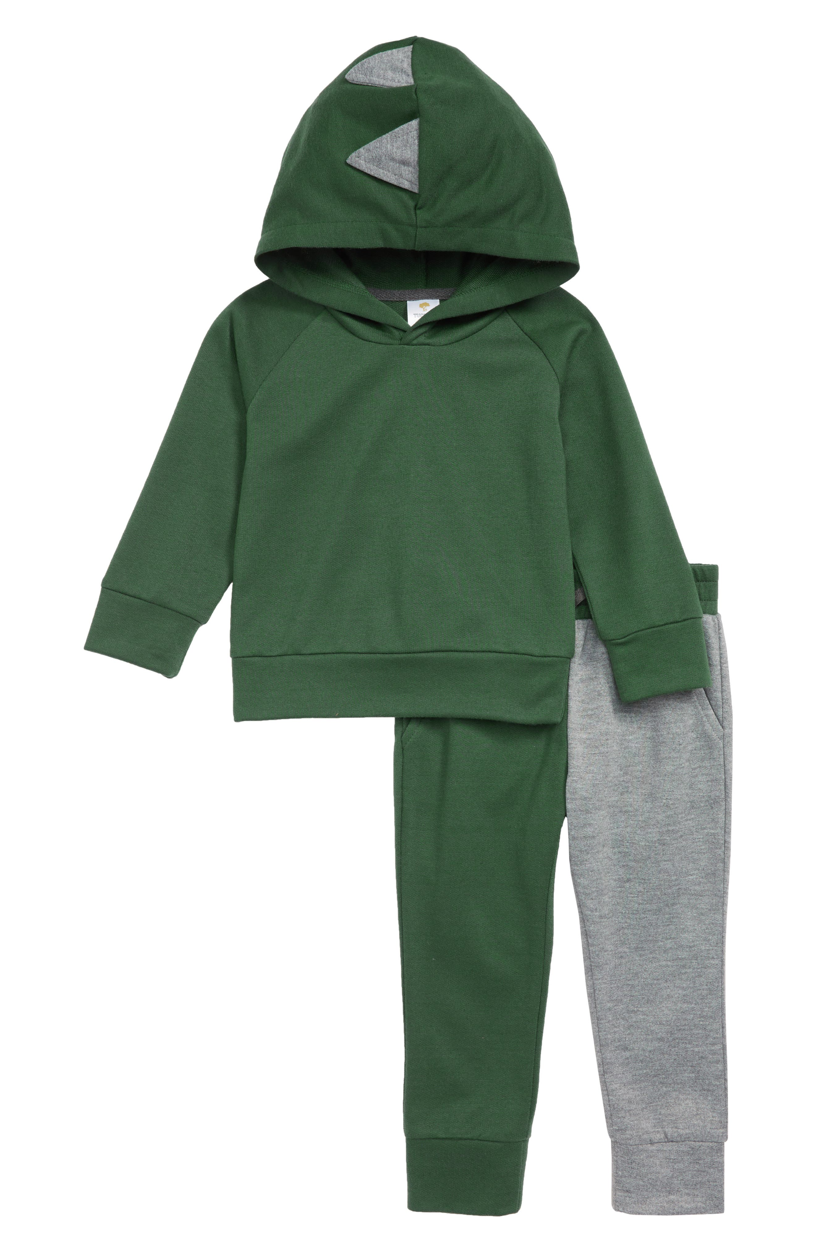 Dinosaur 2-Piece Hoodie Pajamas,                         Main,                         color, GREEN PINECONE