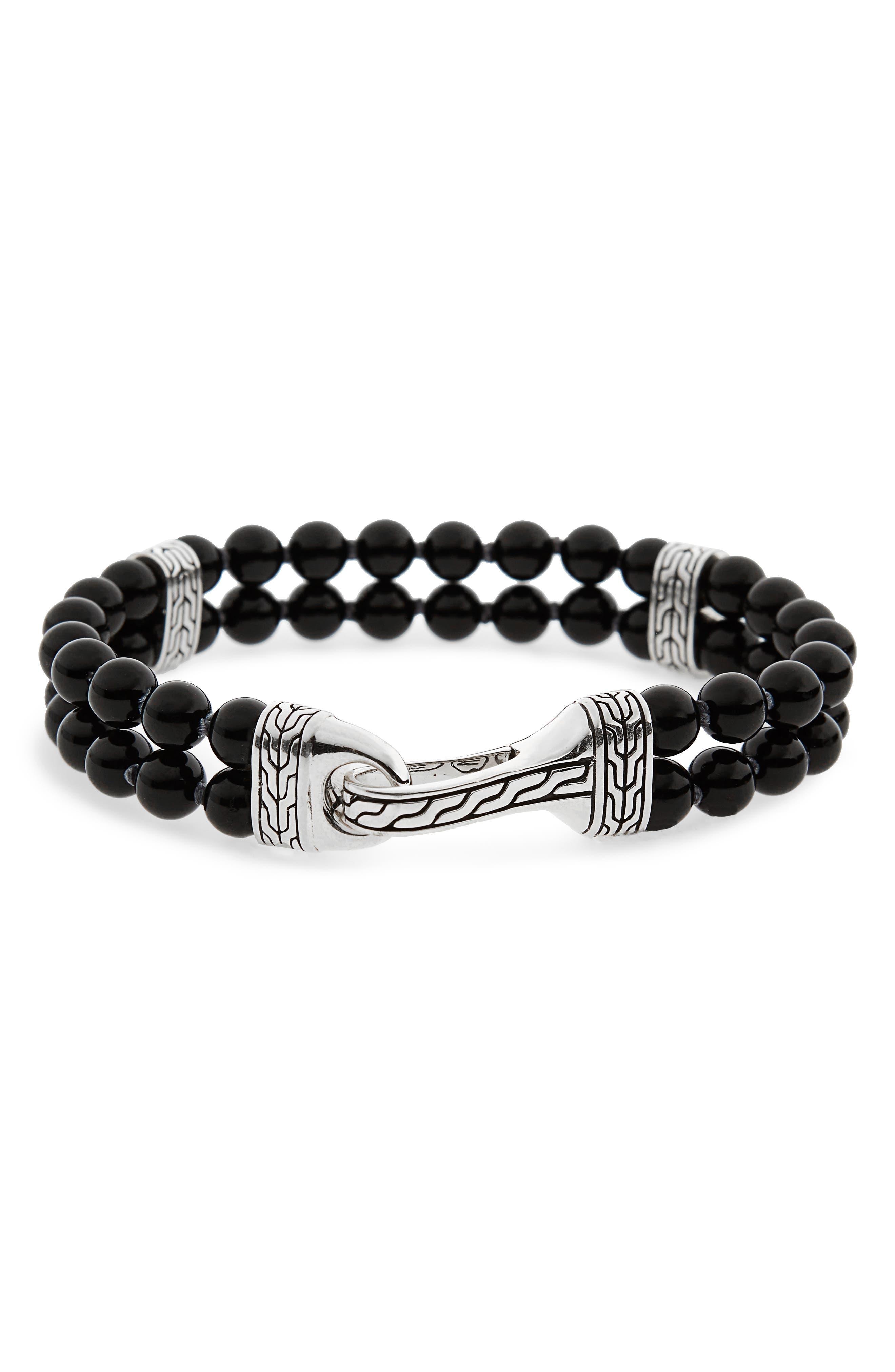 Classic Chain Double Row Black Onyx Bead Bracelet,                             Main thumbnail 1, color,                             BLACK ONYX/ SILVER