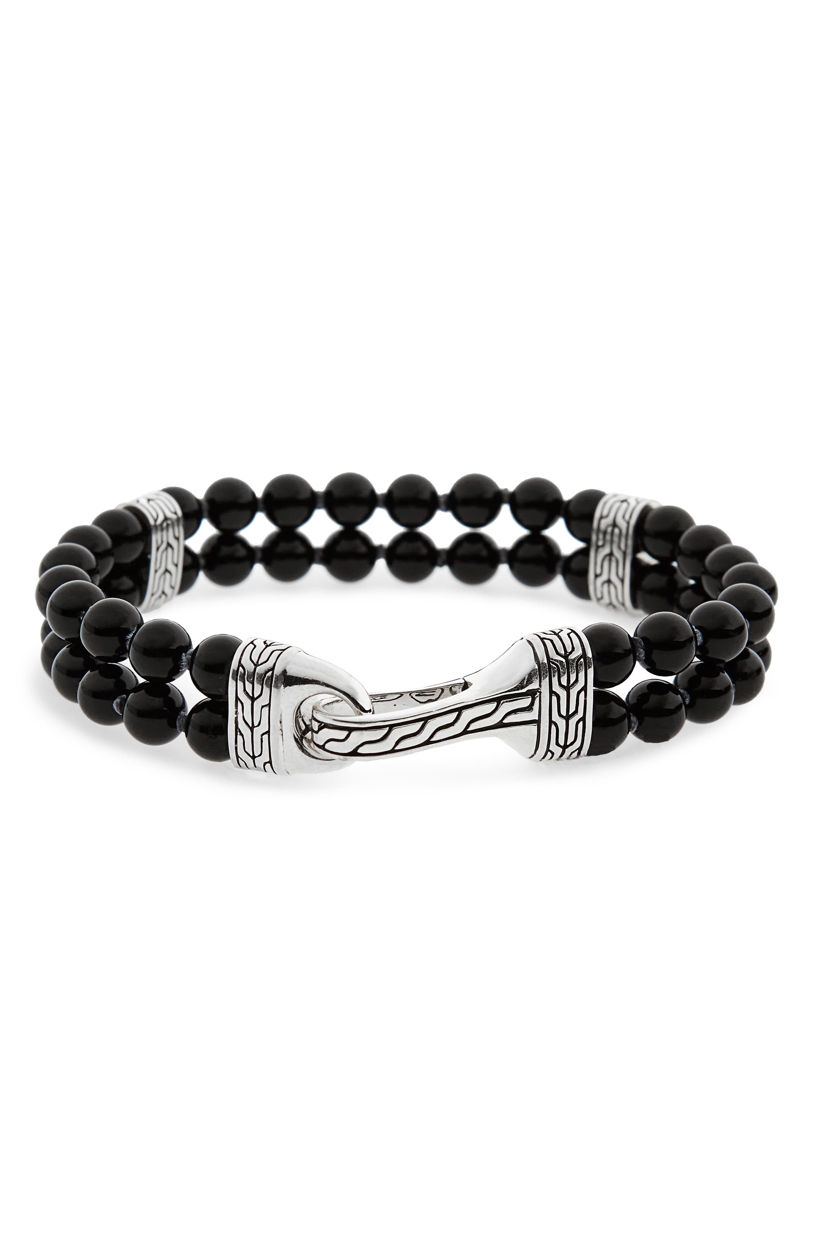 Classic Chain Double Row Black Onyx Bead Bracelet,                         Main,                         color, BLACK ONYX/ SILVER