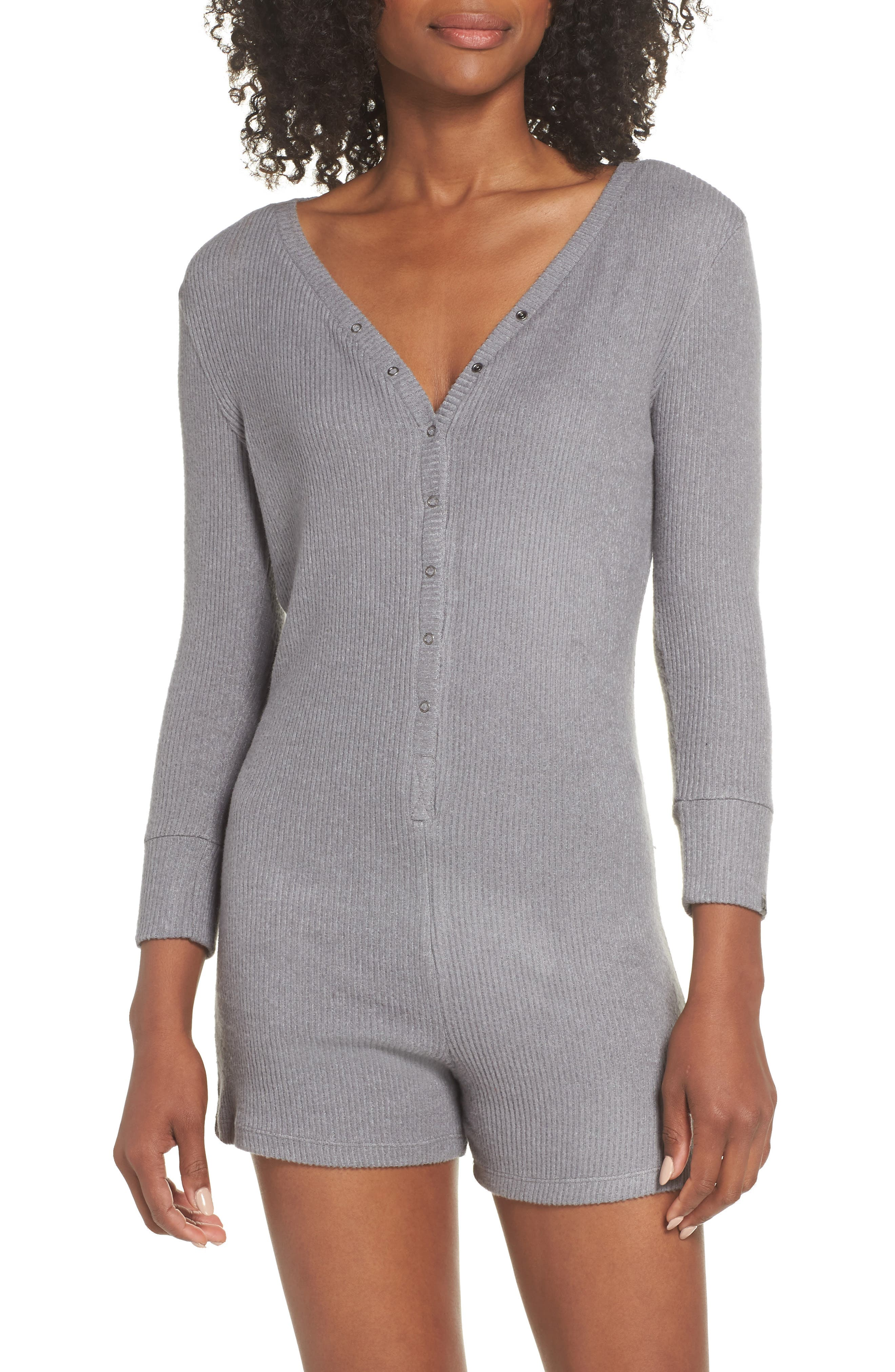 Joes' Henley Romper,                         Main,                         color, HEATHER GRAY