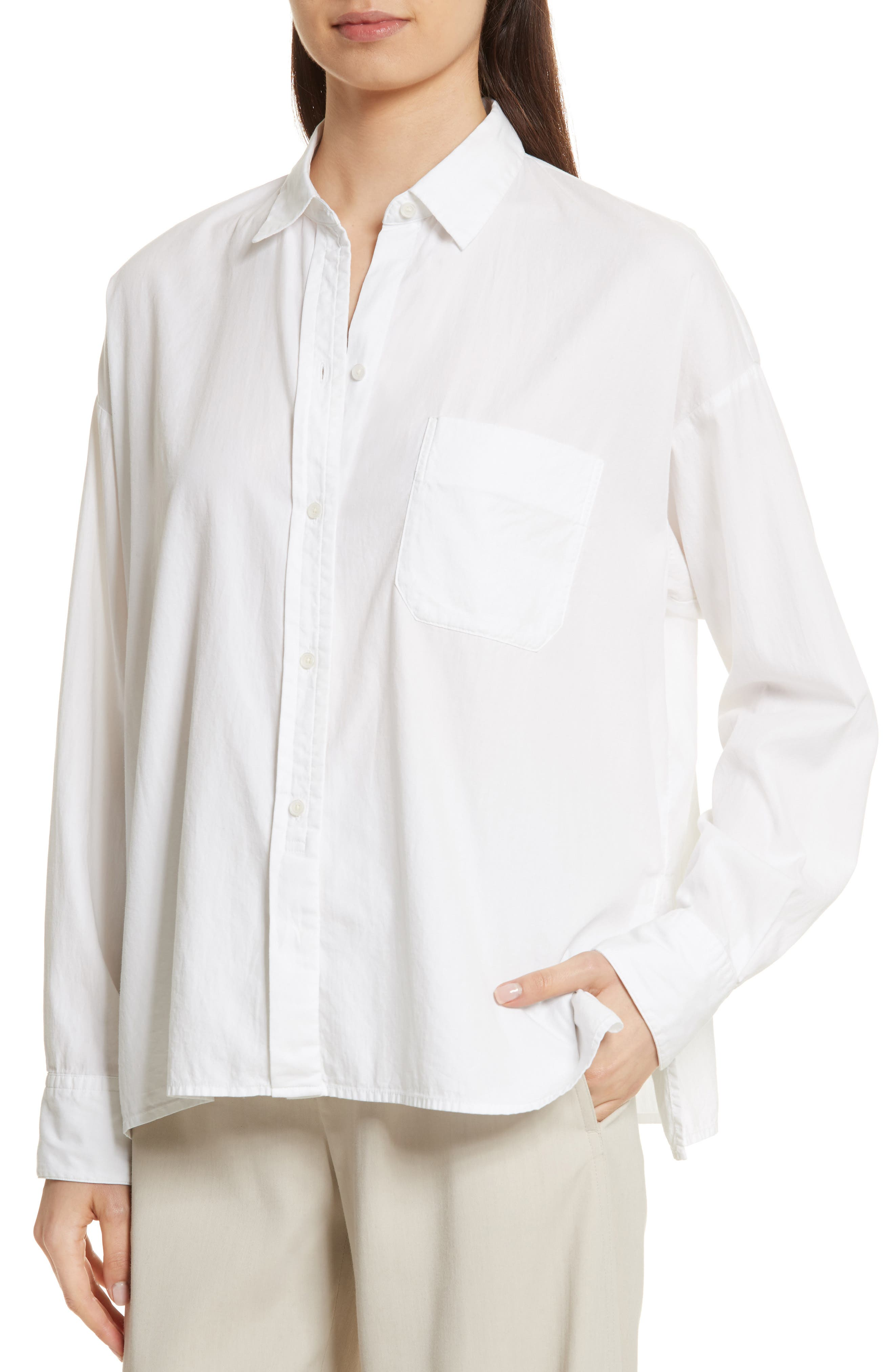 Single Pocket Cotton & Silk Shirt,                             Alternate thumbnail 4, color,                             100