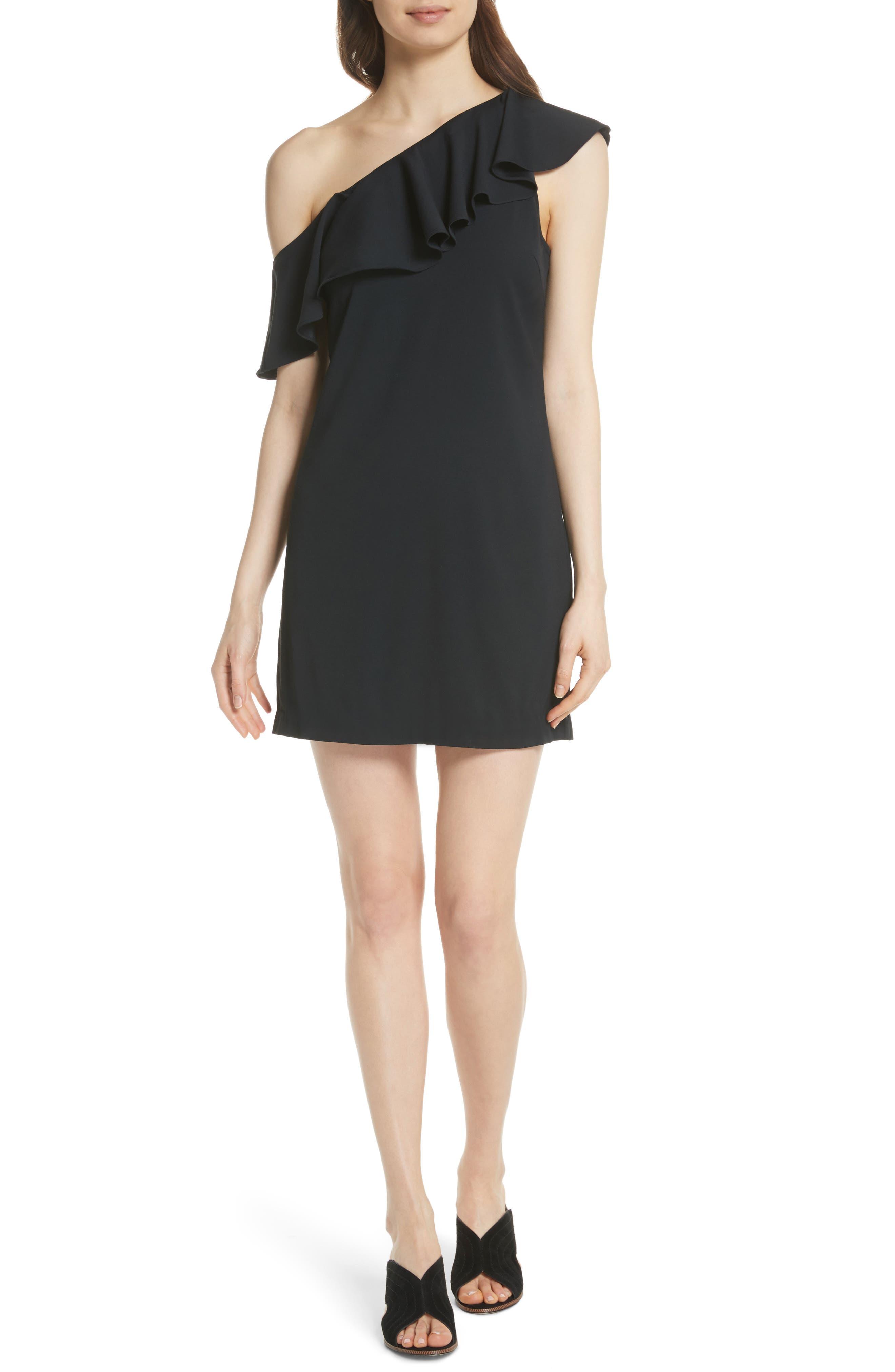 Bronwen Ruffled One-Shoulder Dress,                         Main,                         color, 001