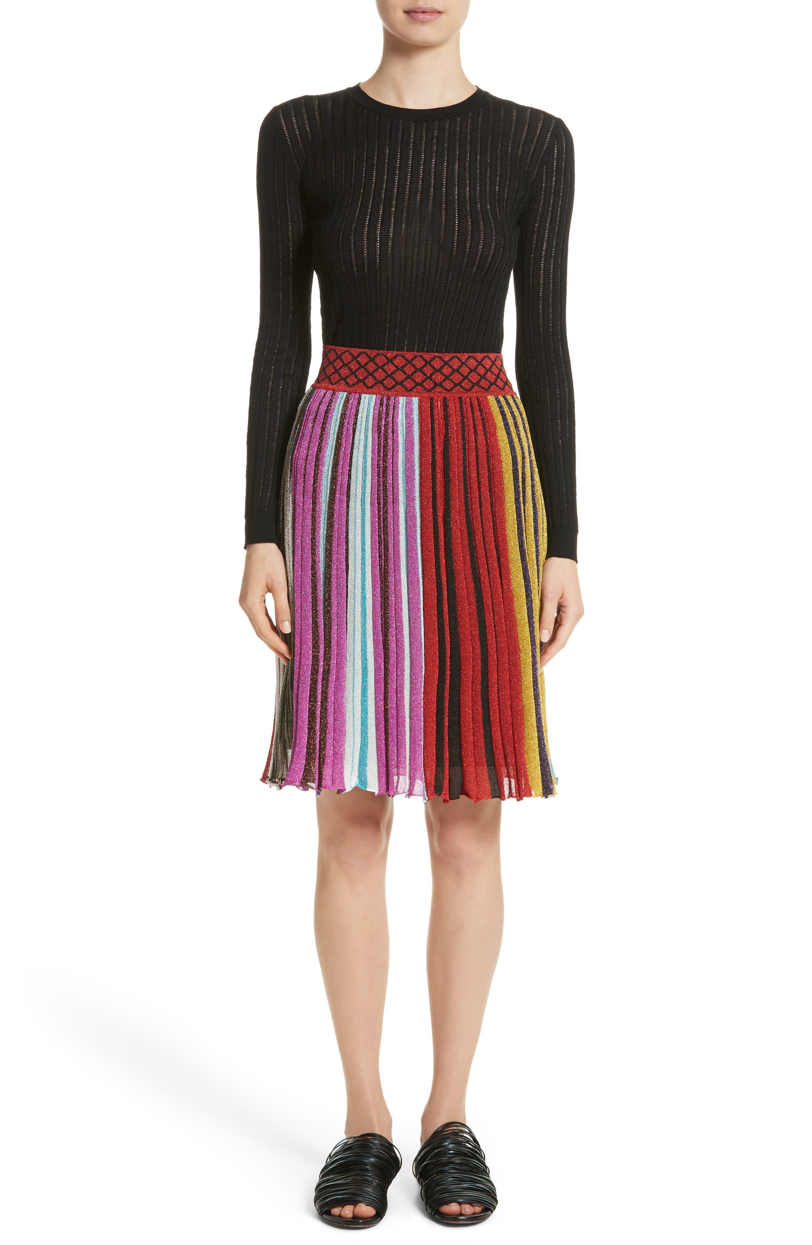 Metallic Stripe Skirt,                             Alternate thumbnail 7, color,                             640