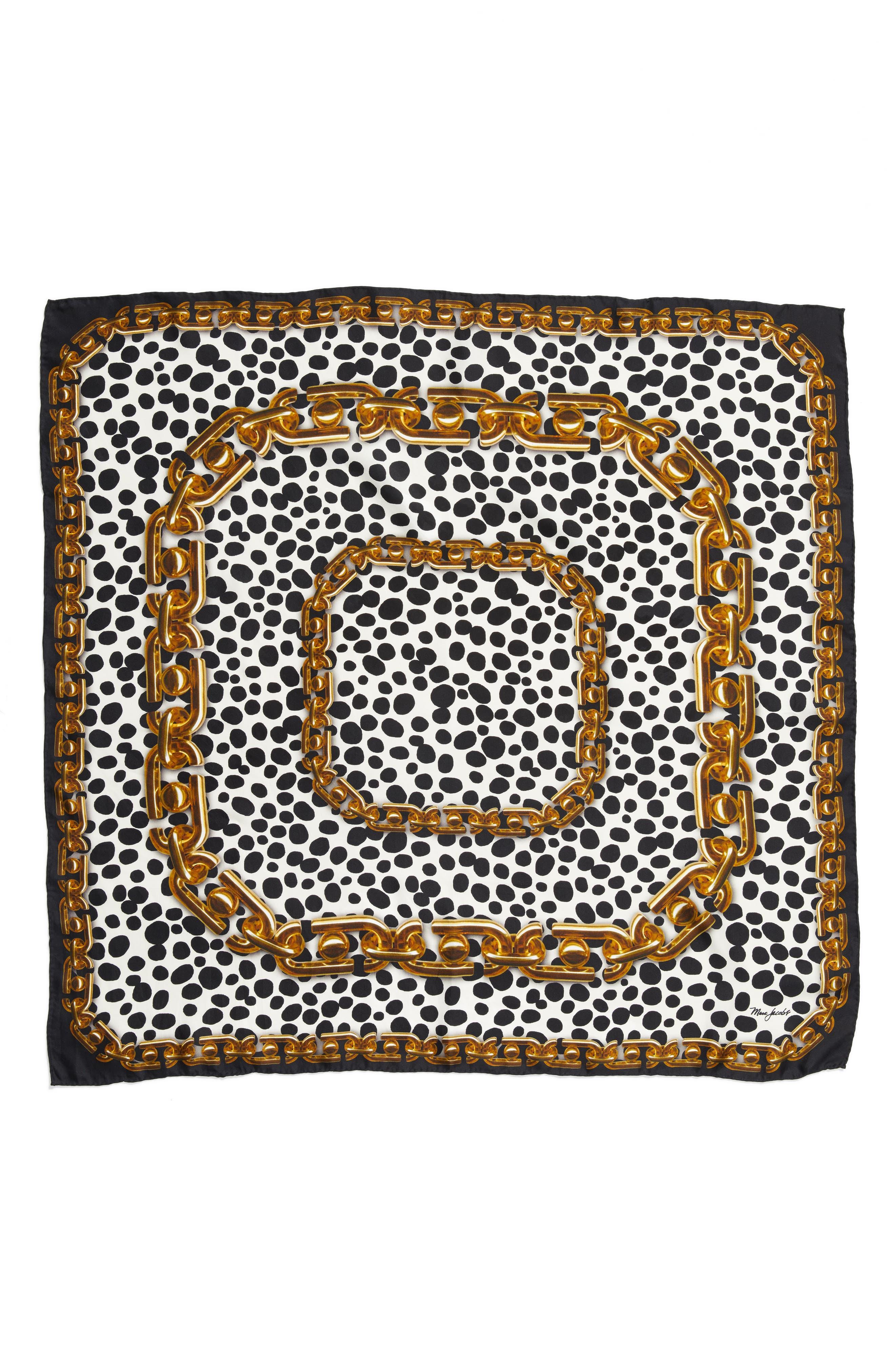 Animal & Chain Print Silk Scarf,                             Main thumbnail 1, color,                             001