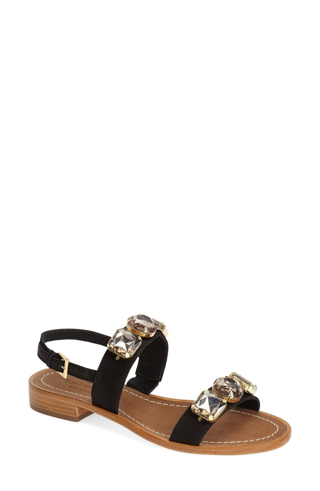 'bacau' ornate double band sandal,                             Main thumbnail 1, color,                             001