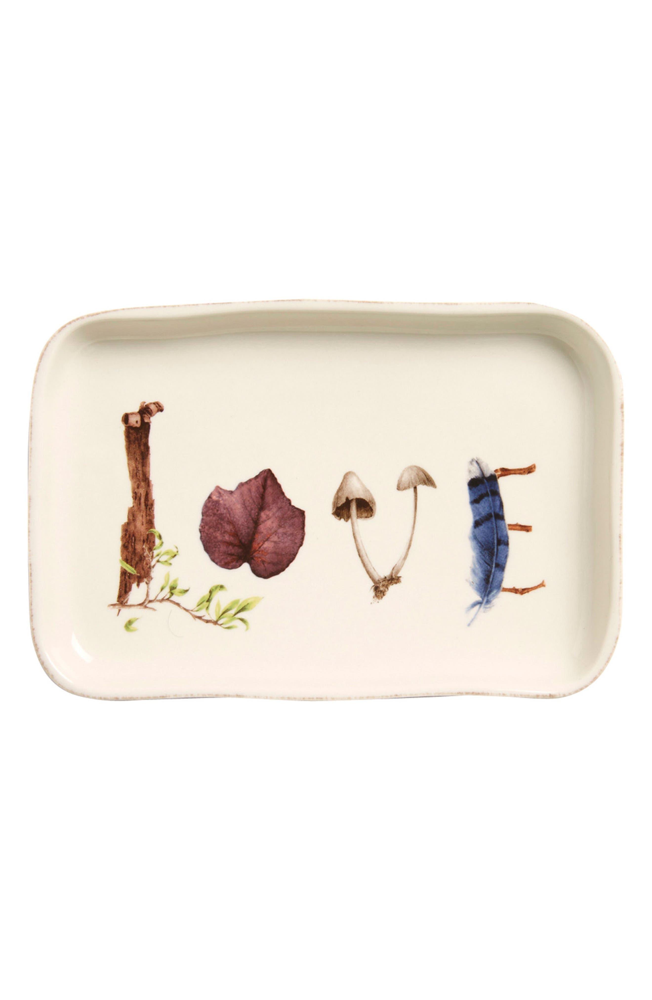Forest Walk Love Ceramic Tray,                         Main,                         color, CAF AU LAIT
