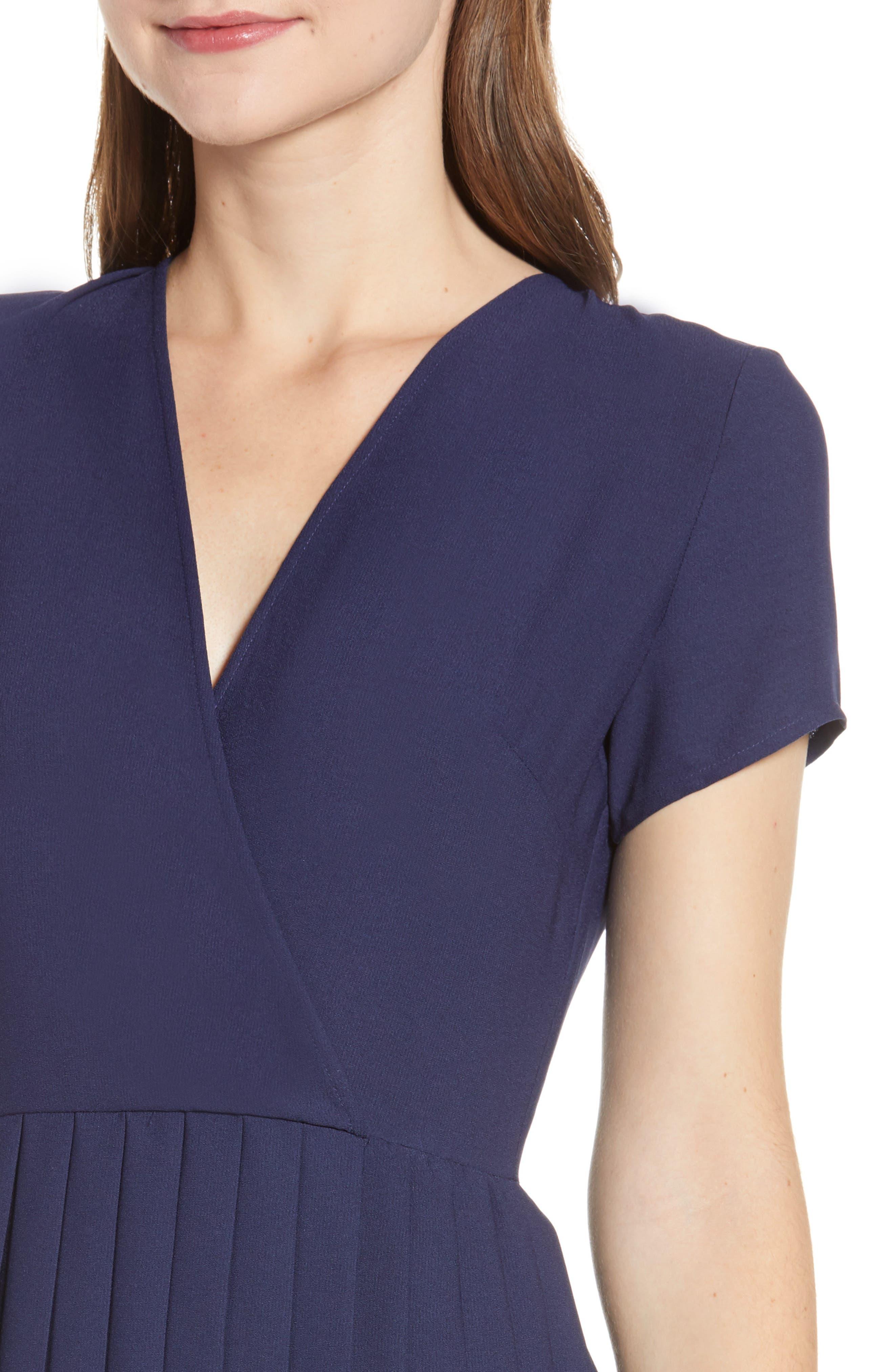 LEITH,                             Pleated Surplice Dress,                             Alternate thumbnail 6, color,                             NAVY PEACOAT