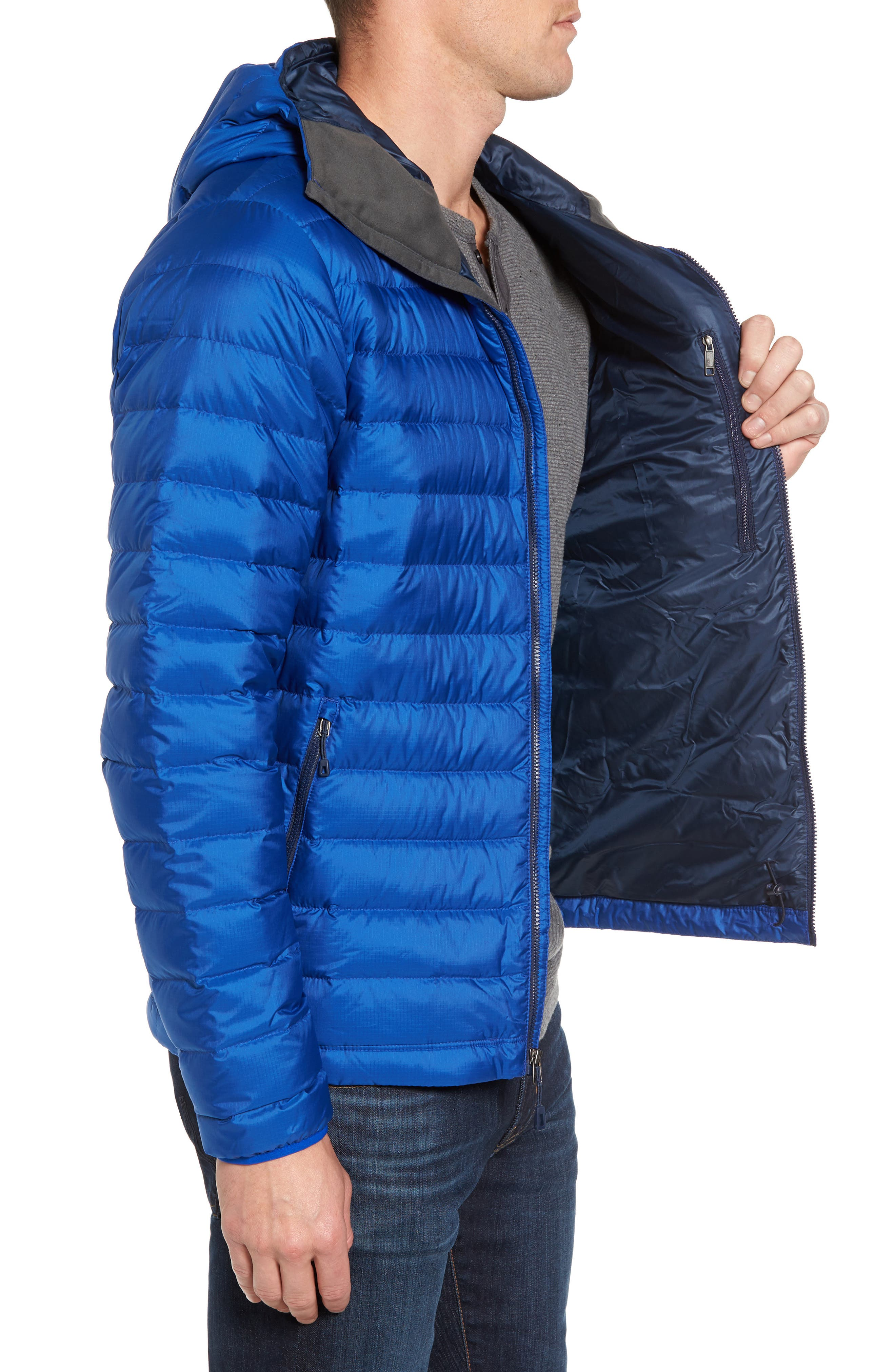 Packable Windproof & Water Resistant Goose Down Sweater Hooded Jacket,                             Alternate thumbnail 16, color,