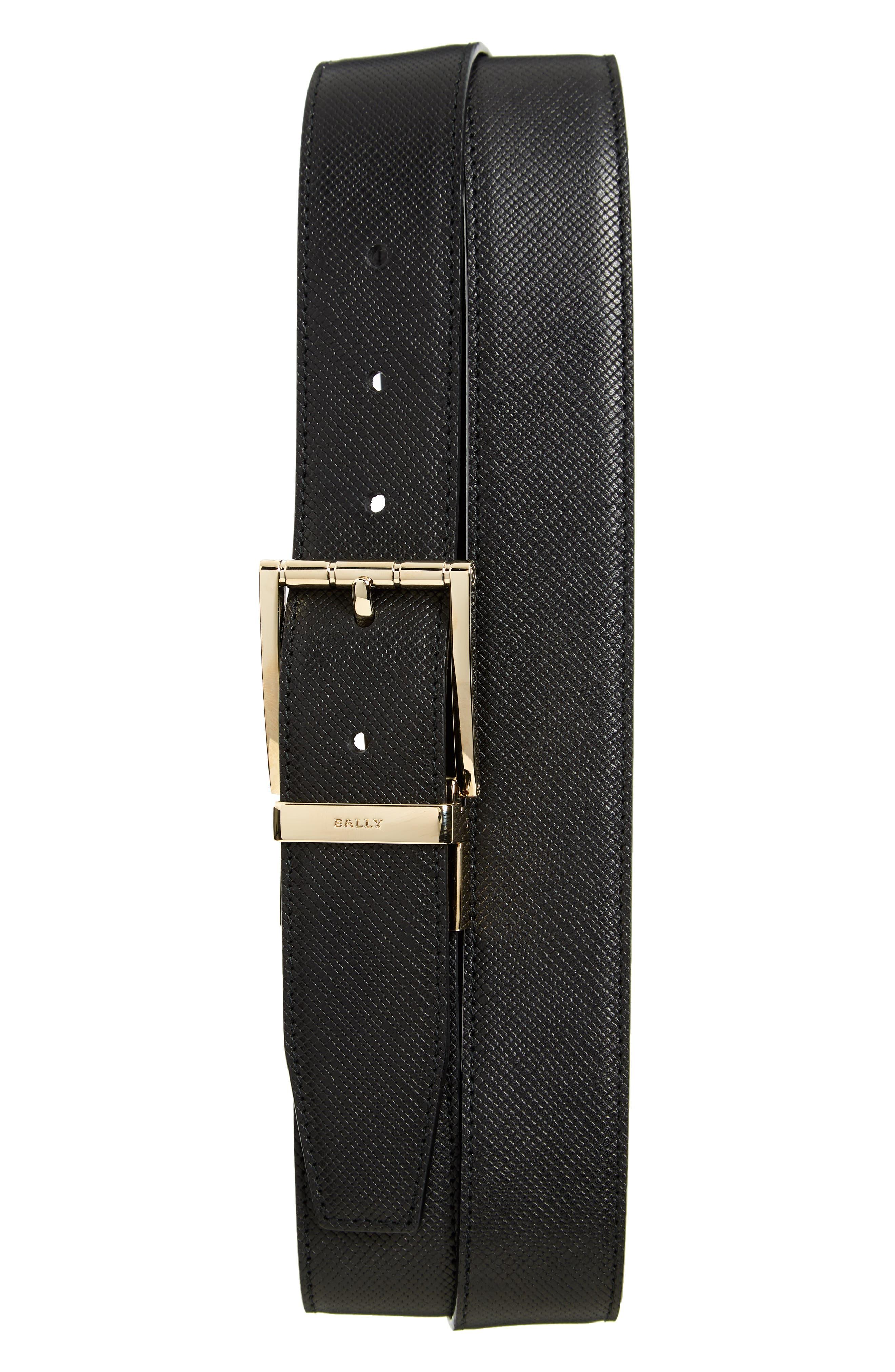 Astor Reversible Leather Belt,                             Main thumbnail 1, color,                             BLACK