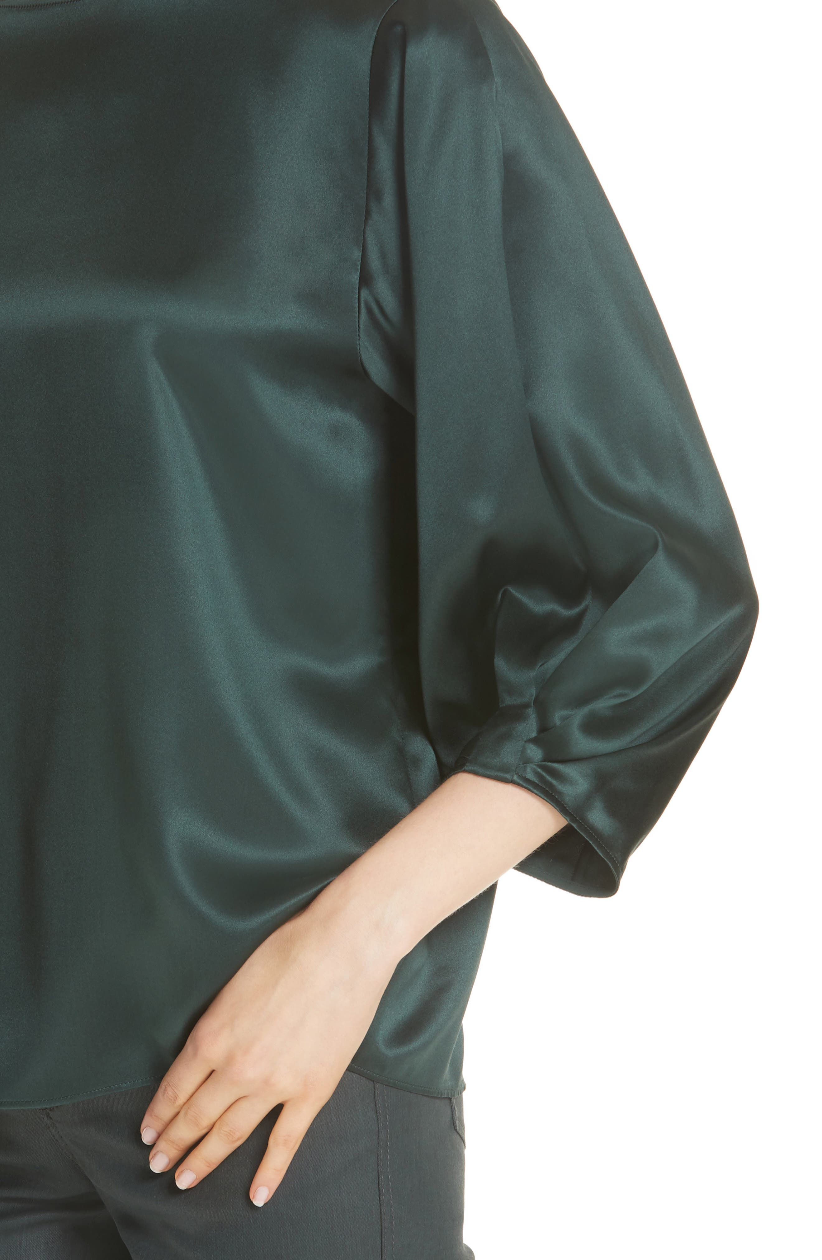 Wynona Silk Charmeuse Blouse,                             Alternate thumbnail 4, color,                             396