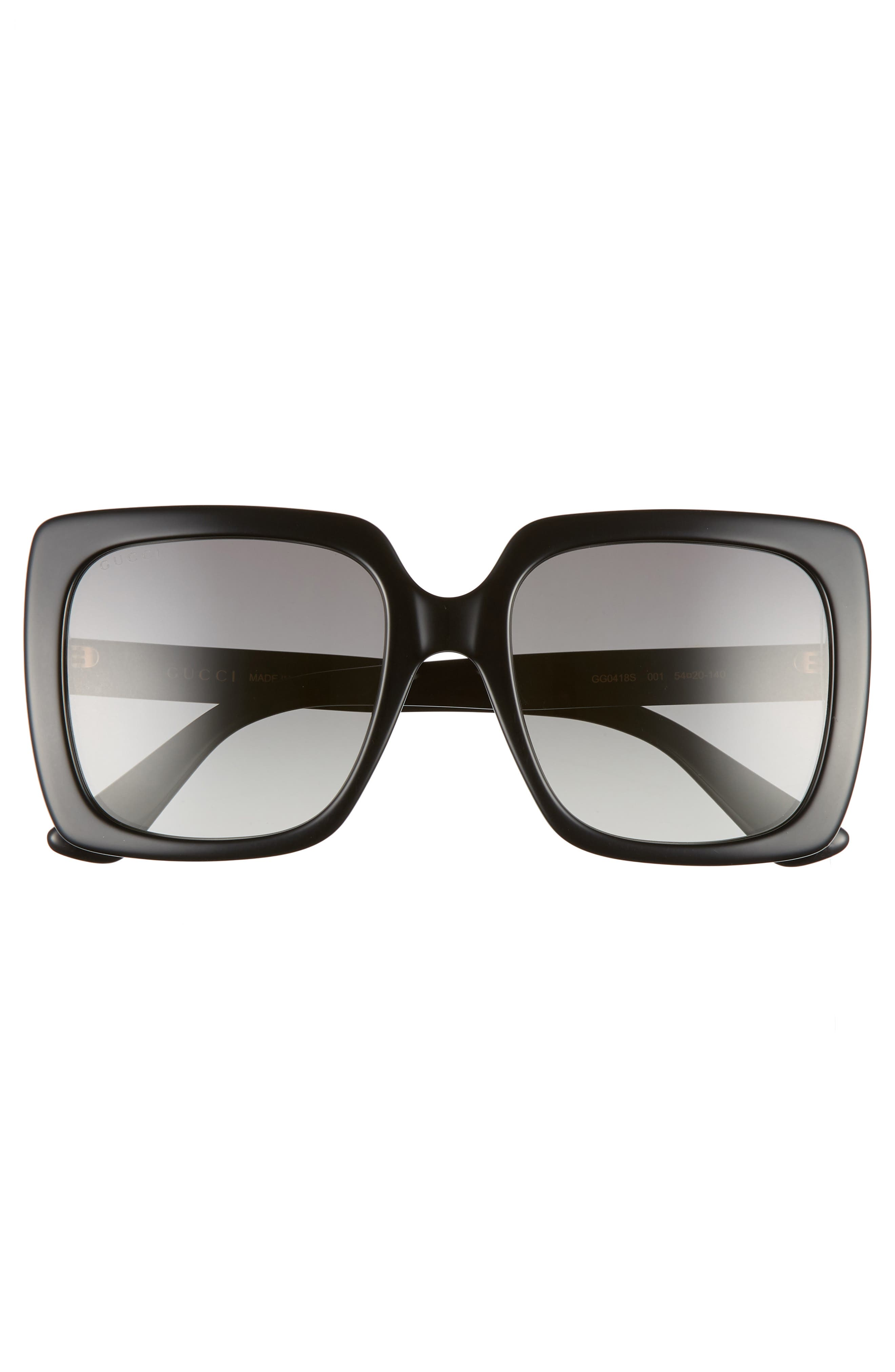 GUCCI,                             54mm Gradient Square Sunglasses,                             Alternate thumbnail 3, color,                             BLACK/ CRYSTAL/ GREY GRADIENT