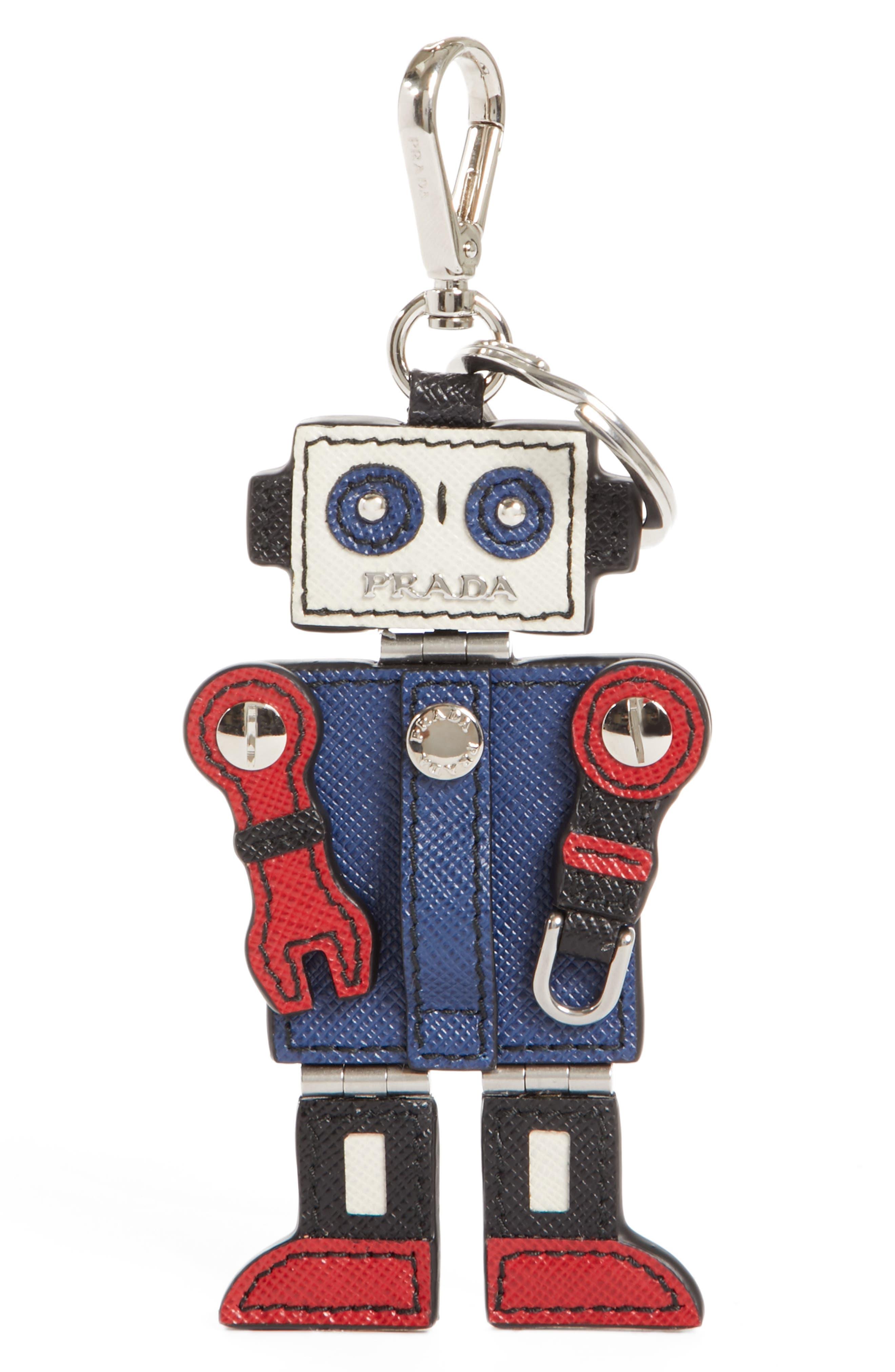 Saffiano Robot Keychain,                             Main thumbnail 1, color,                             920