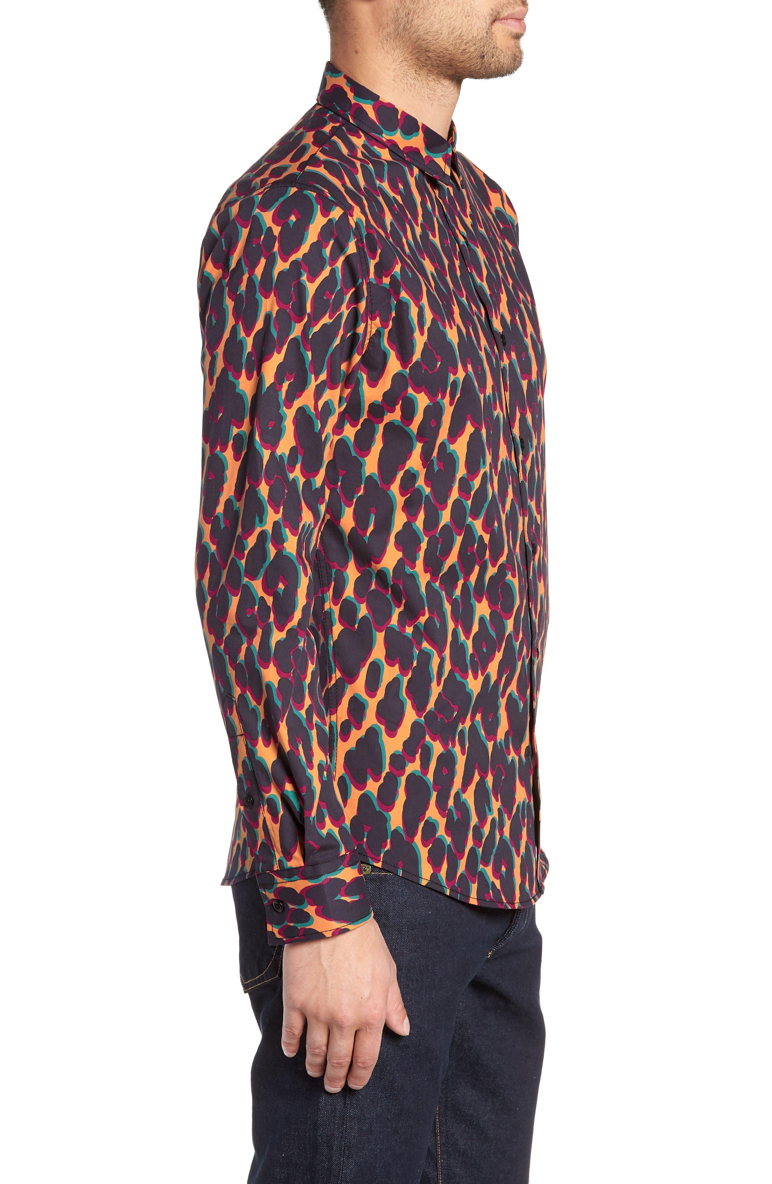 Leopard Print Sport Shirt,                             Alternate thumbnail 3, color,                             ORANGE LEOPARD OFFSET
