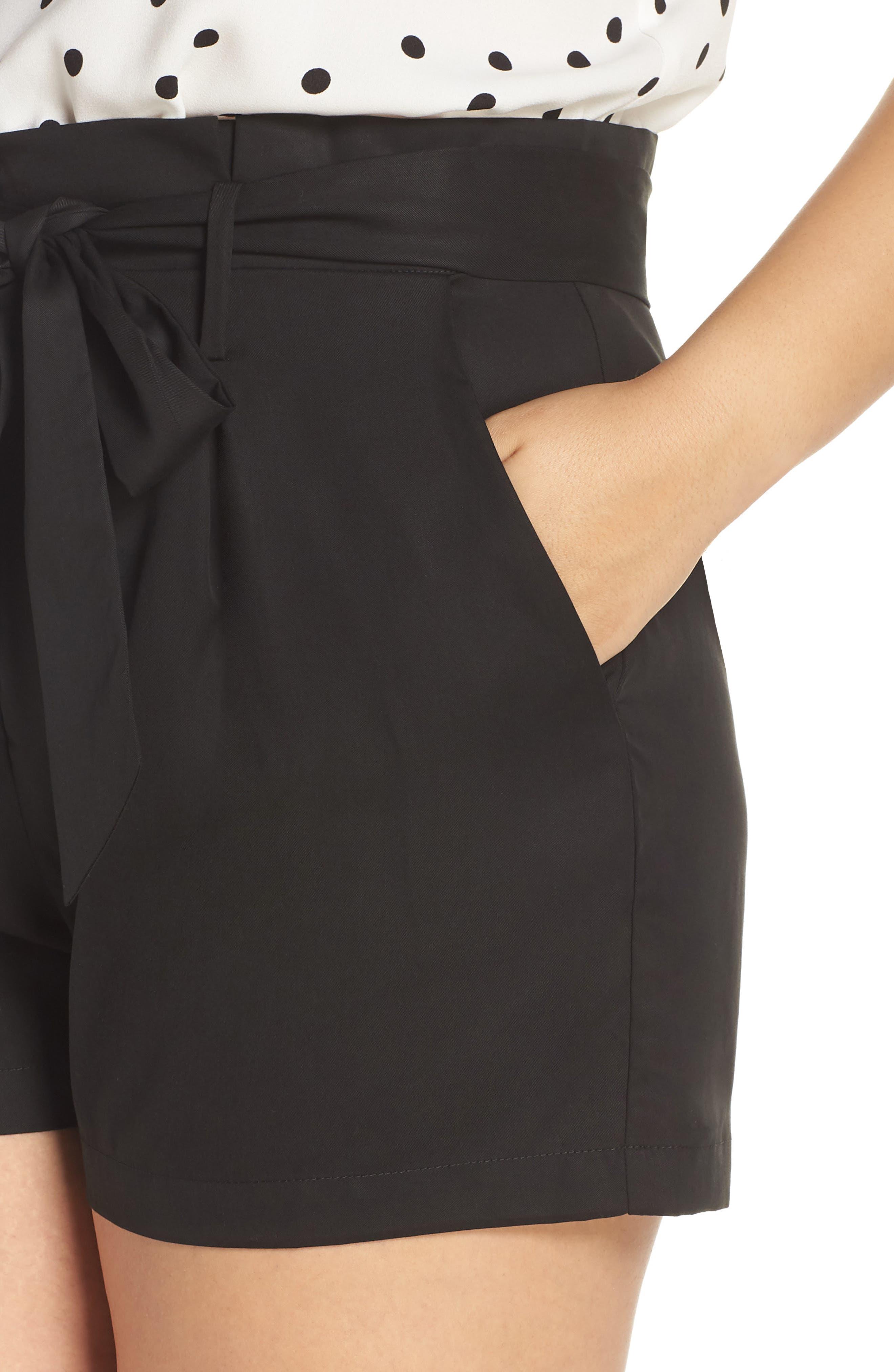 Tie Front Shorts,                             Alternate thumbnail 10, color,                             BLACK