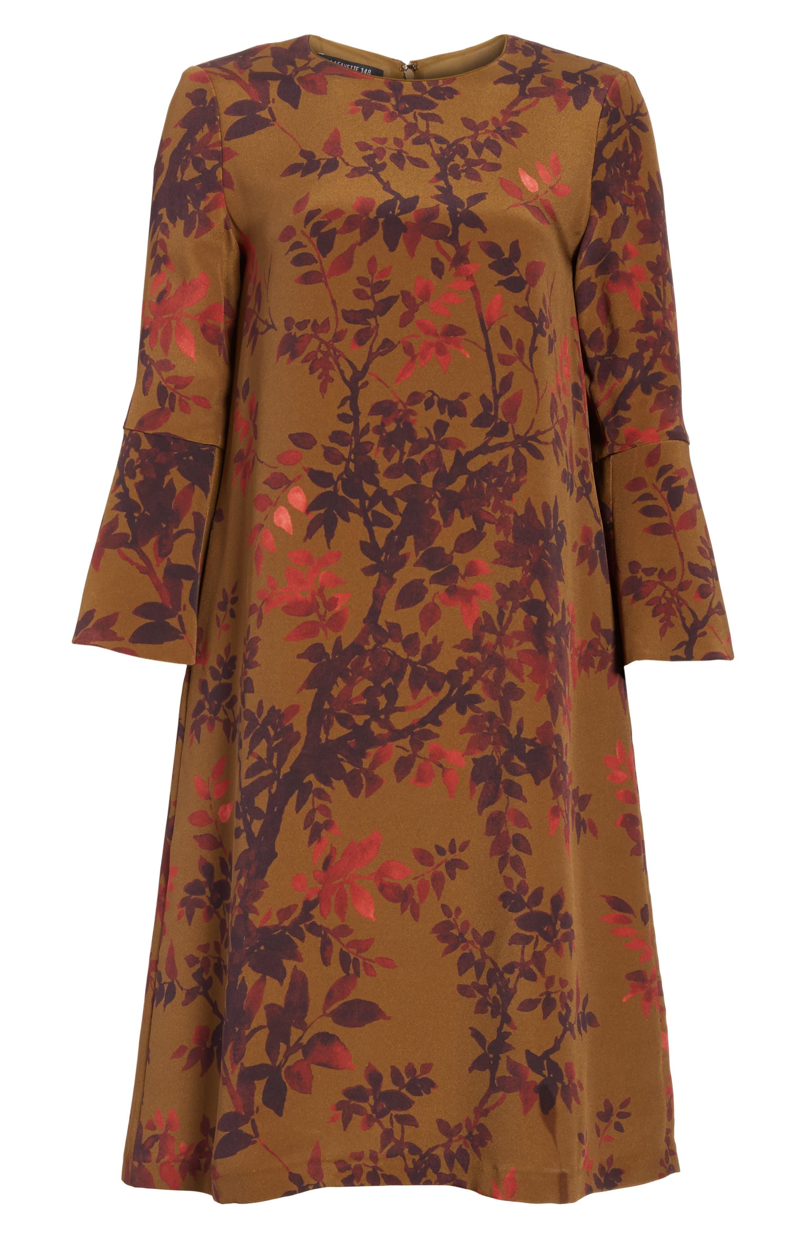 Sidra Floral Print Silk Dress,                             Alternate thumbnail 6, color,                             242