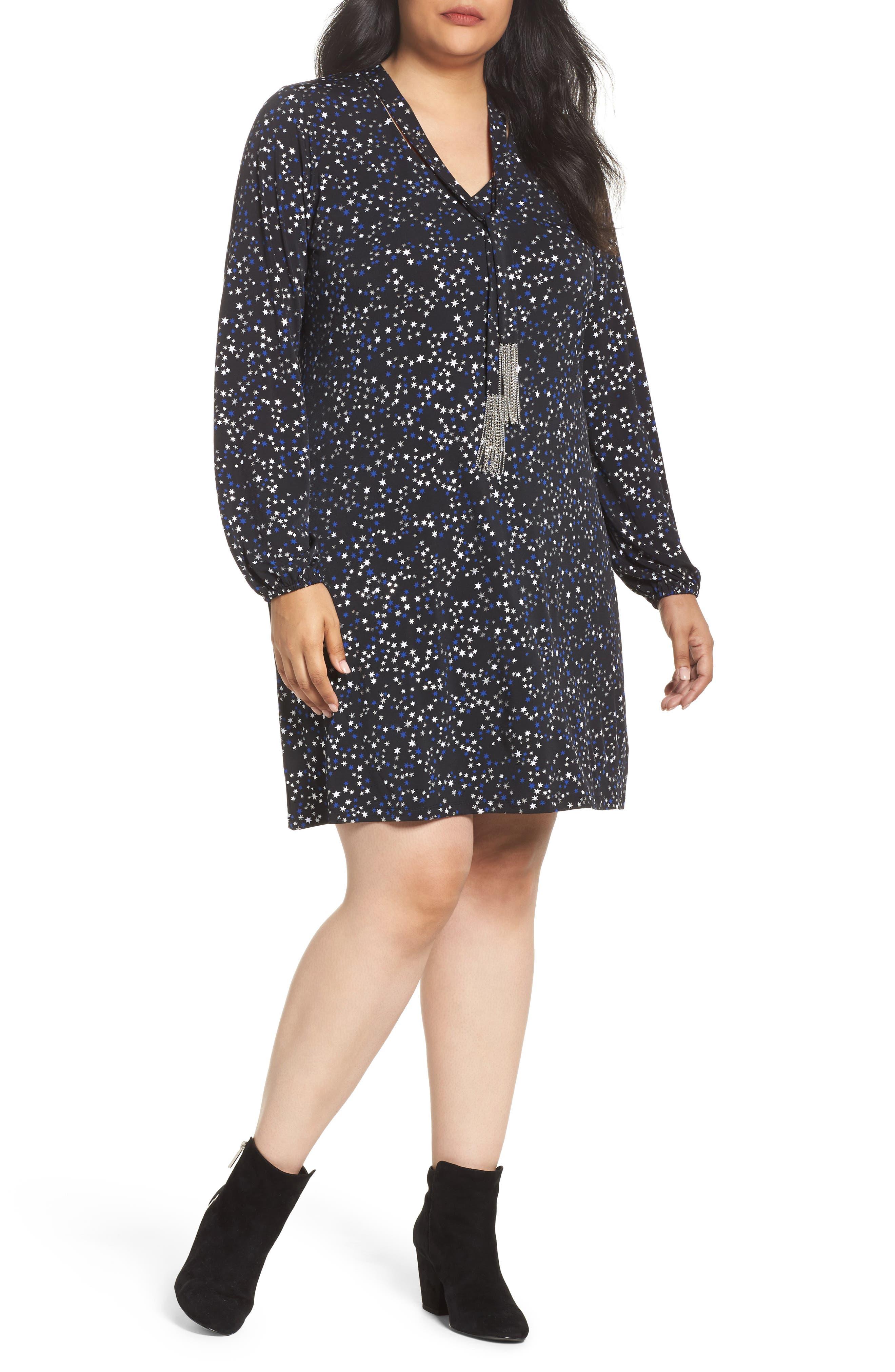 Foil Star A-Line Dress,                         Main,                         color,