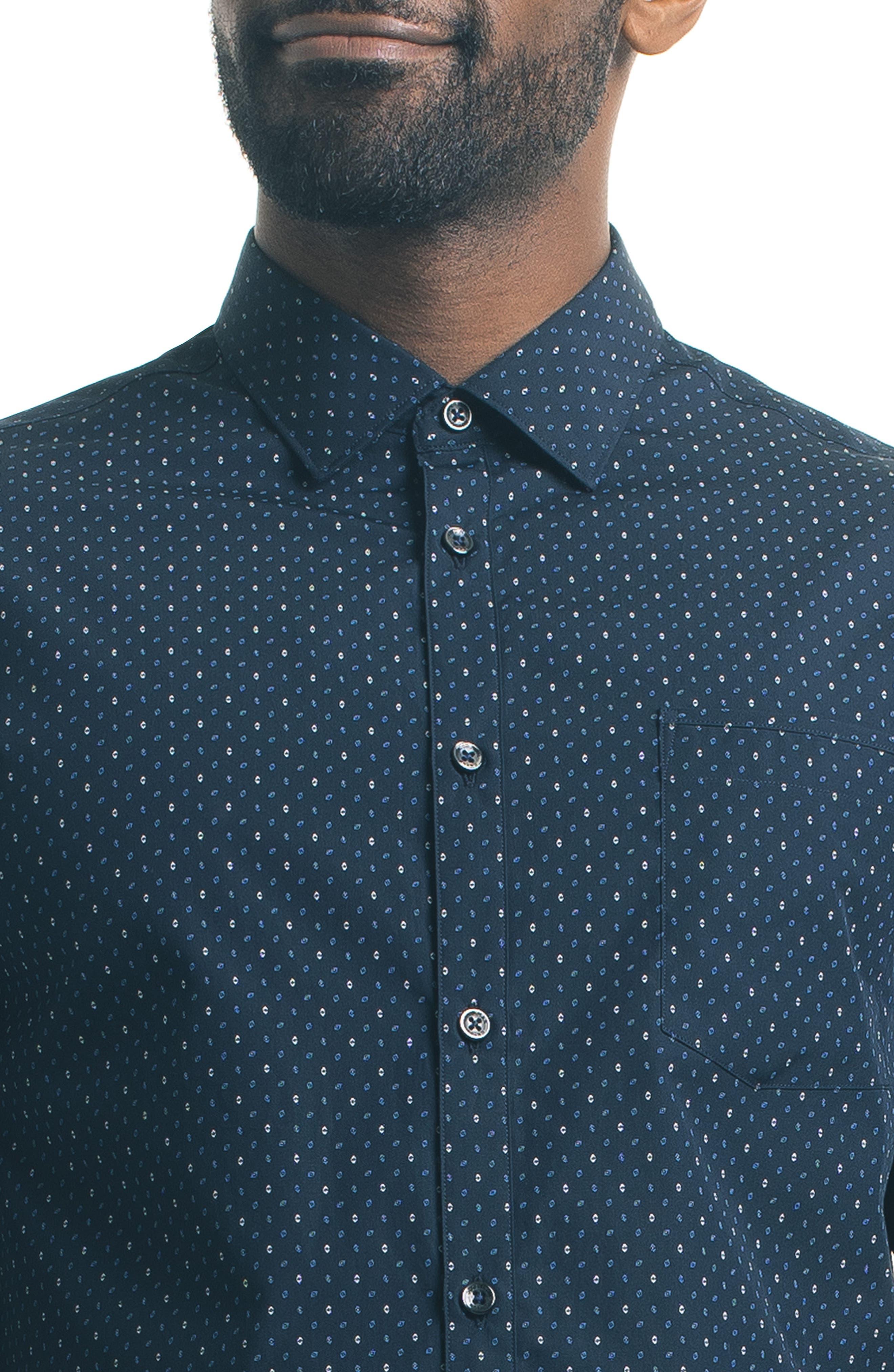 Slim Fit Diamond Print Sport Shirt,                             Alternate thumbnail 4, color,