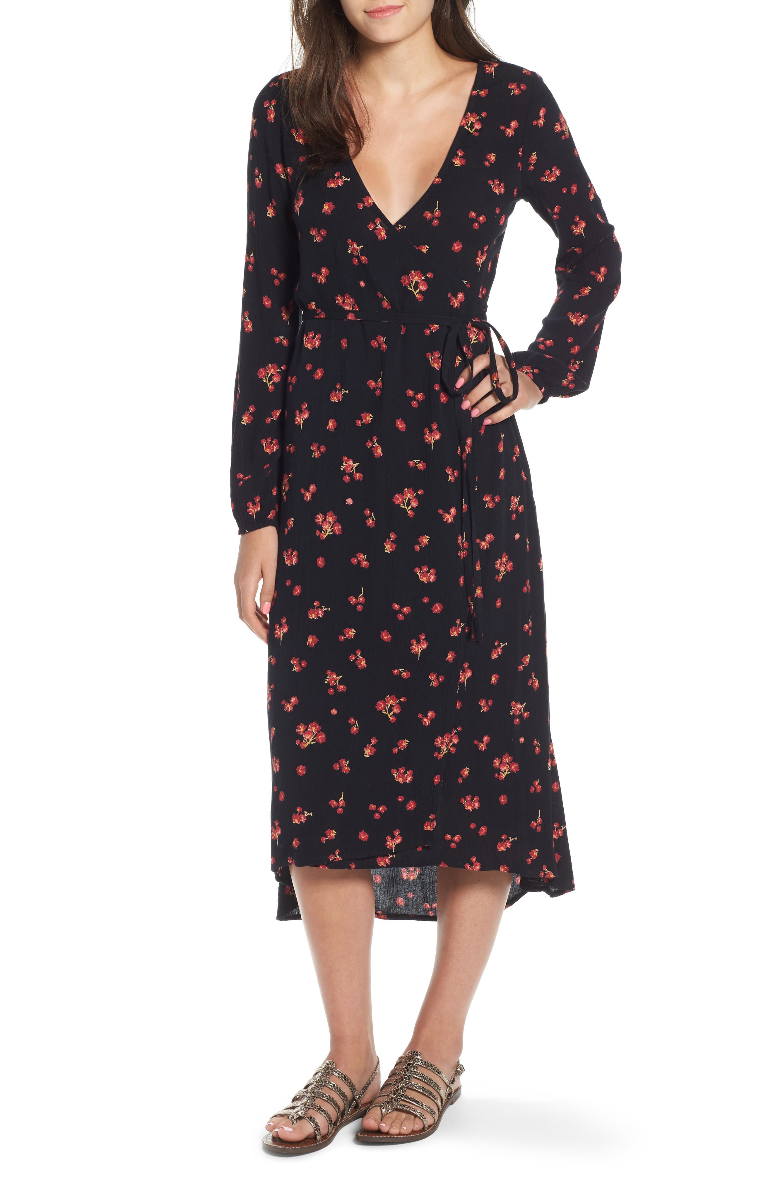 Forever Wild Floral Print Wrap Dress,                             Main thumbnail 1, color,                             001