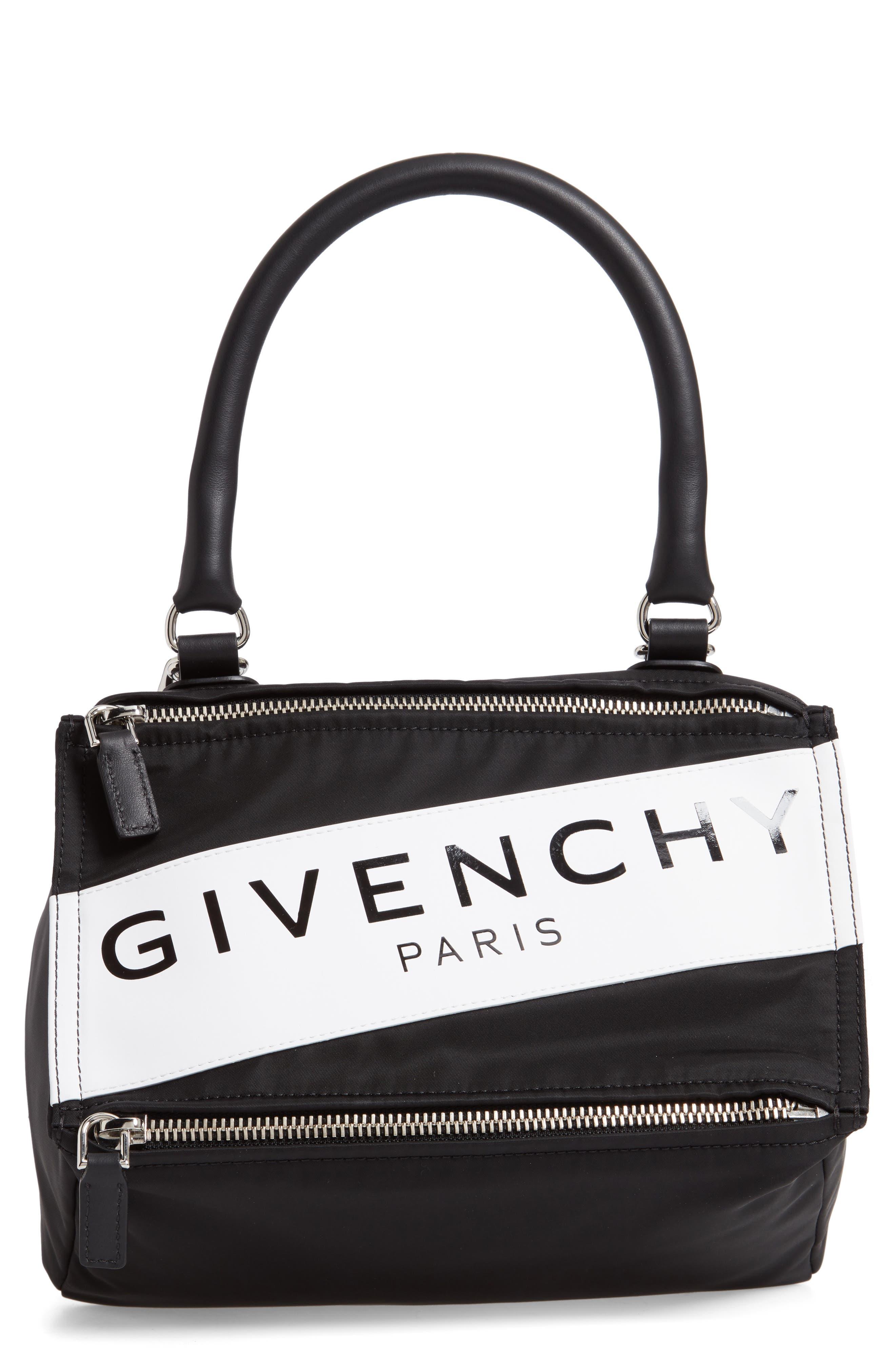 GIVENCHY,                             Small Pandora Logo Shoulder Bag,                             Main thumbnail 1, color,                             BLACK