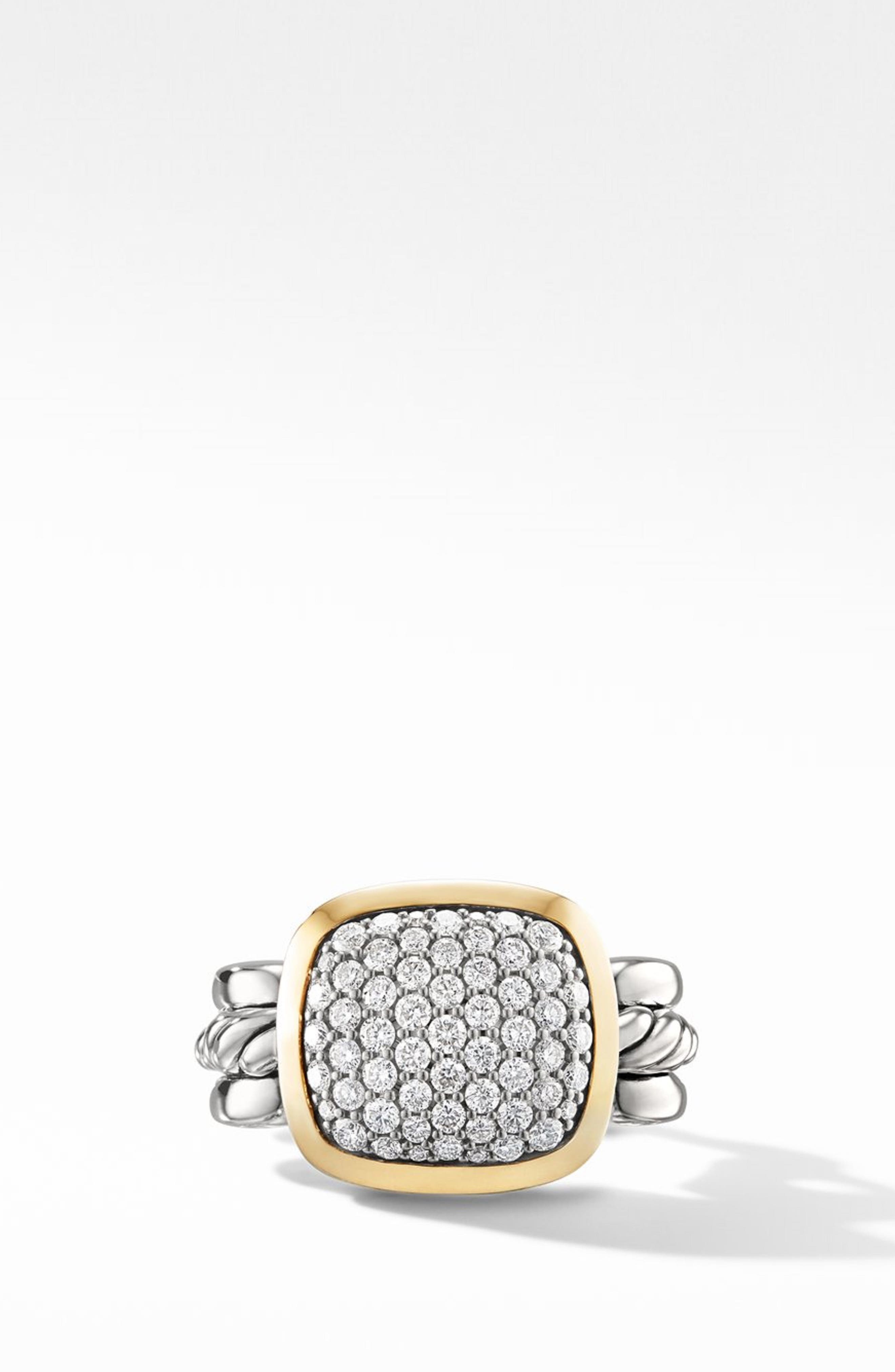 Wellesley Link Statement Ring with 18k Gold & Diamonds,                             Alternate thumbnail 2, color,                             SILVER/ DIAMOND
