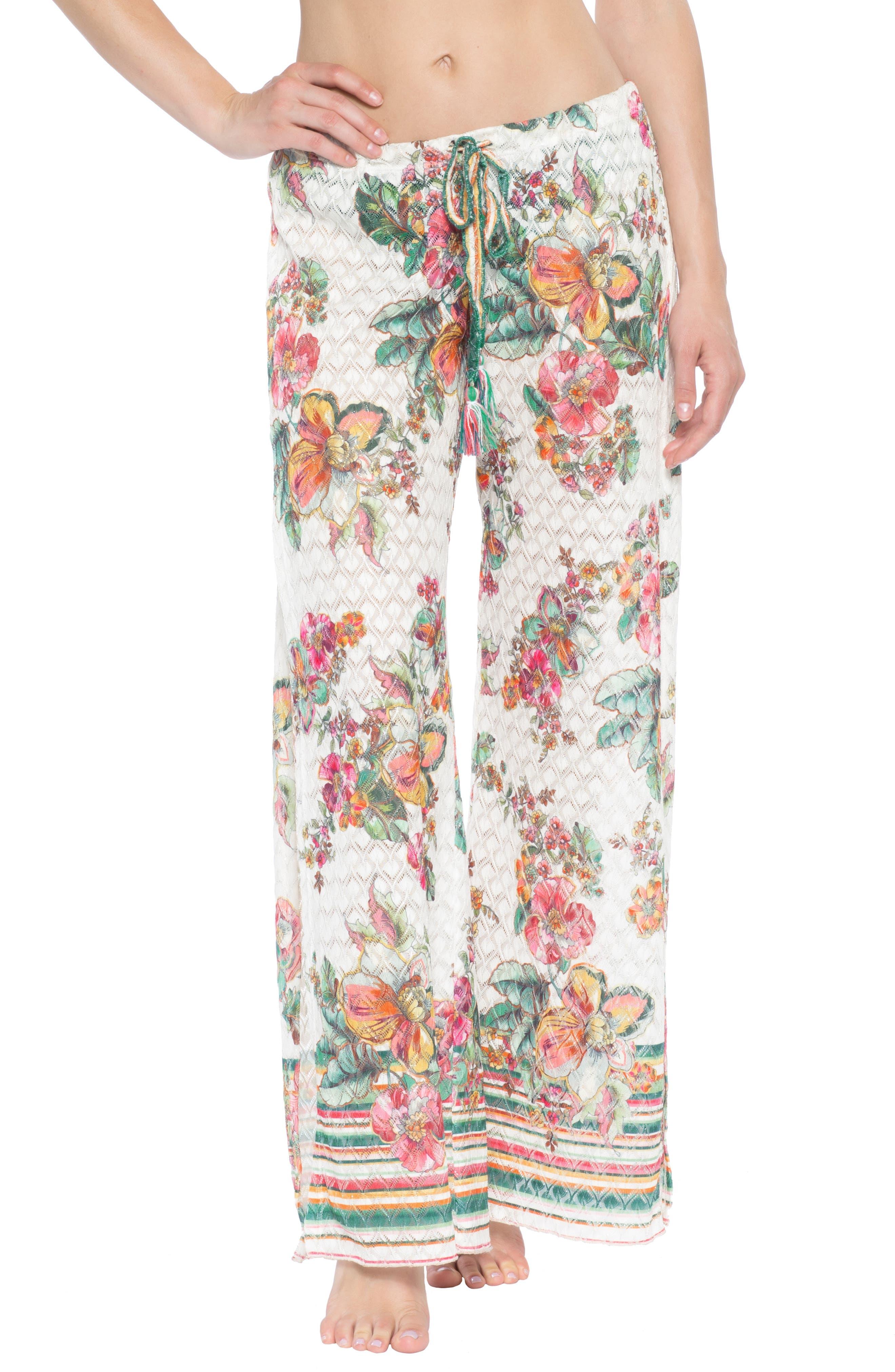 Becca Emma Slit-Leg Cover-Up Pants, White
