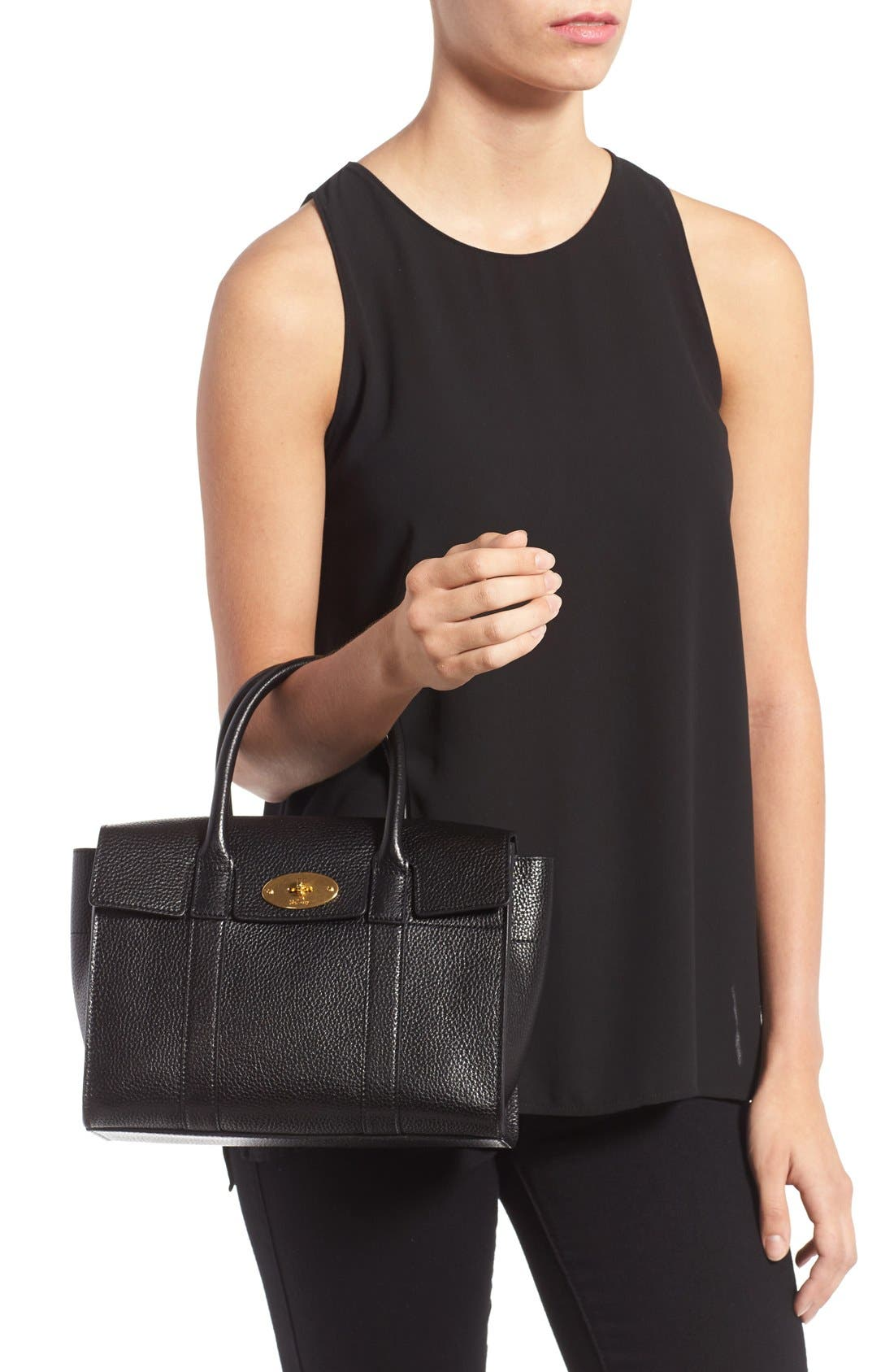 'Small Bayswater' Leather Satchel,                             Alternate thumbnail 2, color,                             001