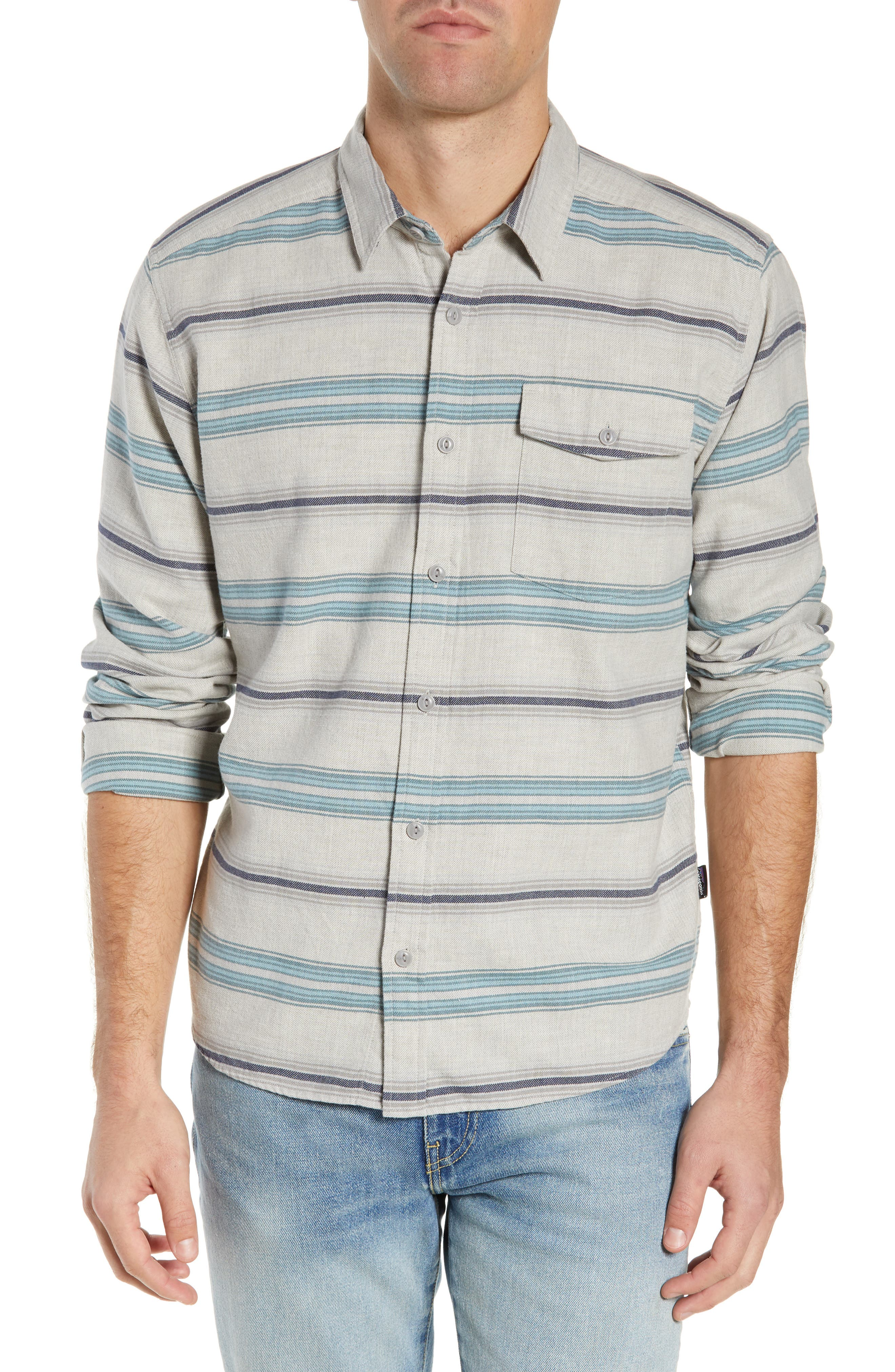 PATAGONIA,                             Regular Fit Organic Cotton Flannel Shirt,                             Main thumbnail 1, color,                             TARKINE STRIPE DRIFTER GREY