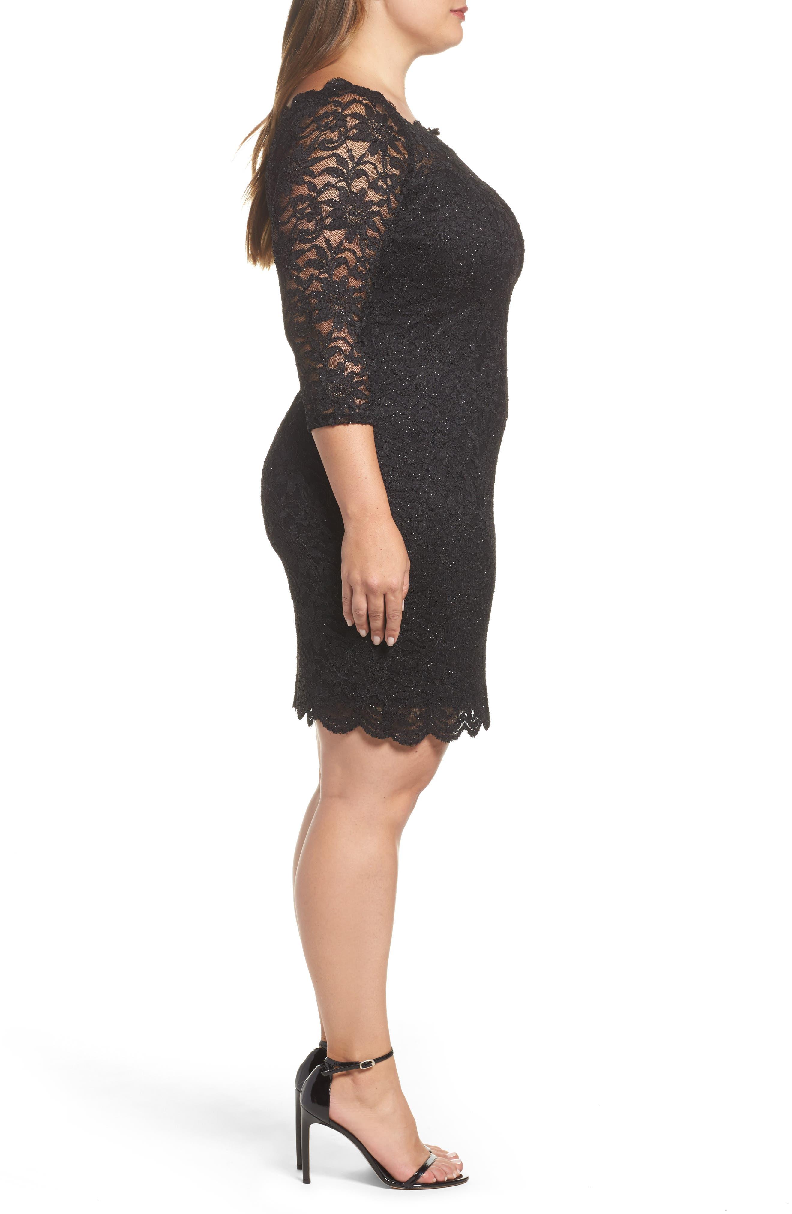 Glitter Lace Cocktail Dress,                             Alternate thumbnail 3, color,                             BLACK
