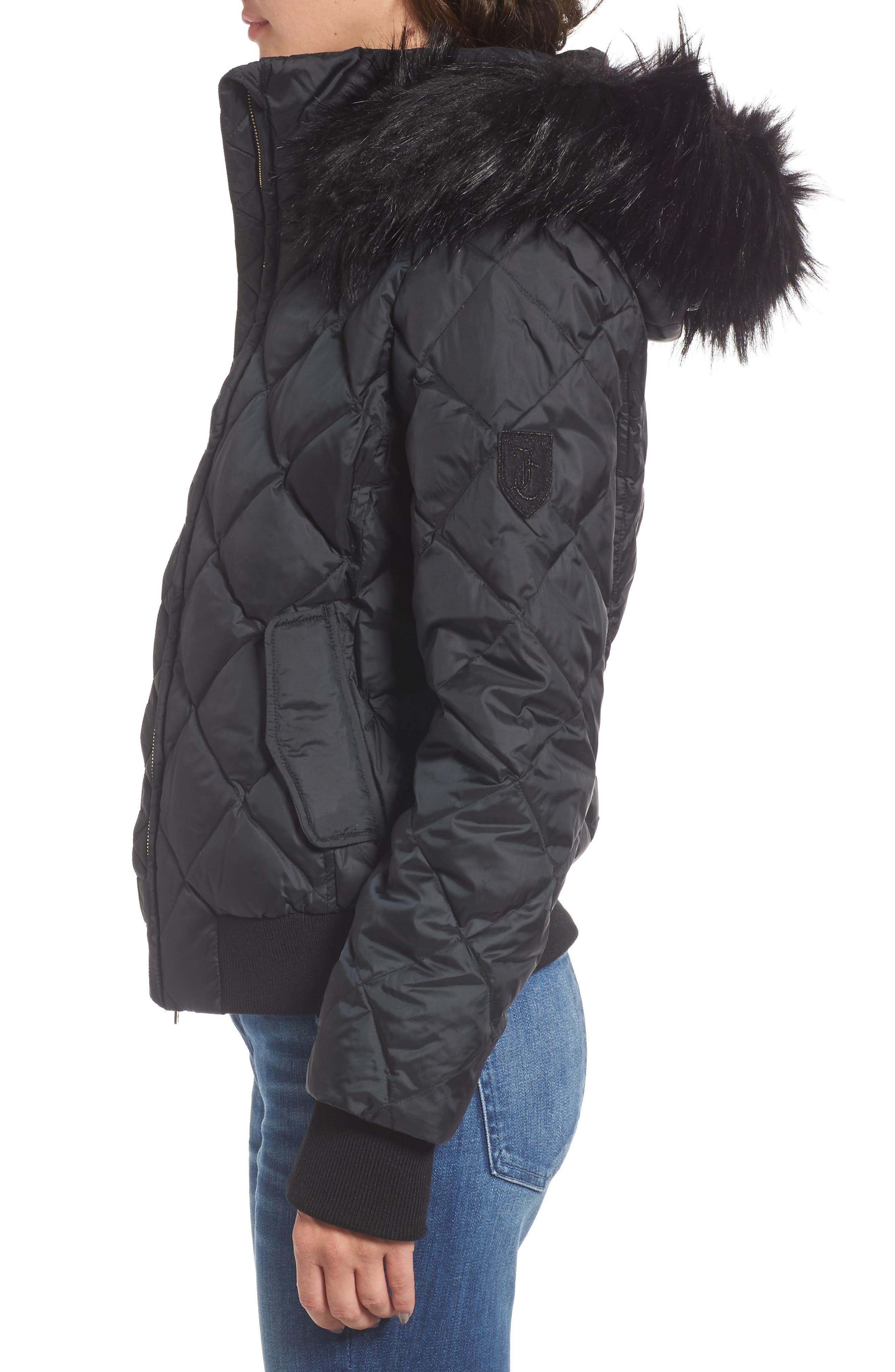 Hooded Puffer Jacket with Faux Fur Trim,                             Alternate thumbnail 3, color,                             009