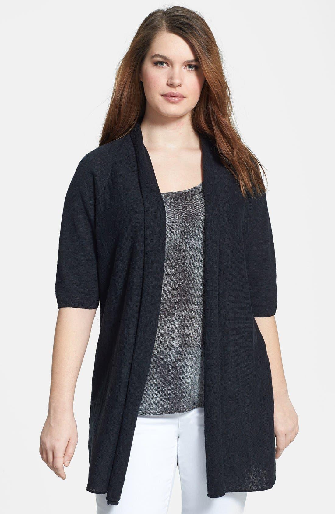 Elbow Sleeve Linen & Cotton Cardigan,                             Main thumbnail 1, color,                             001