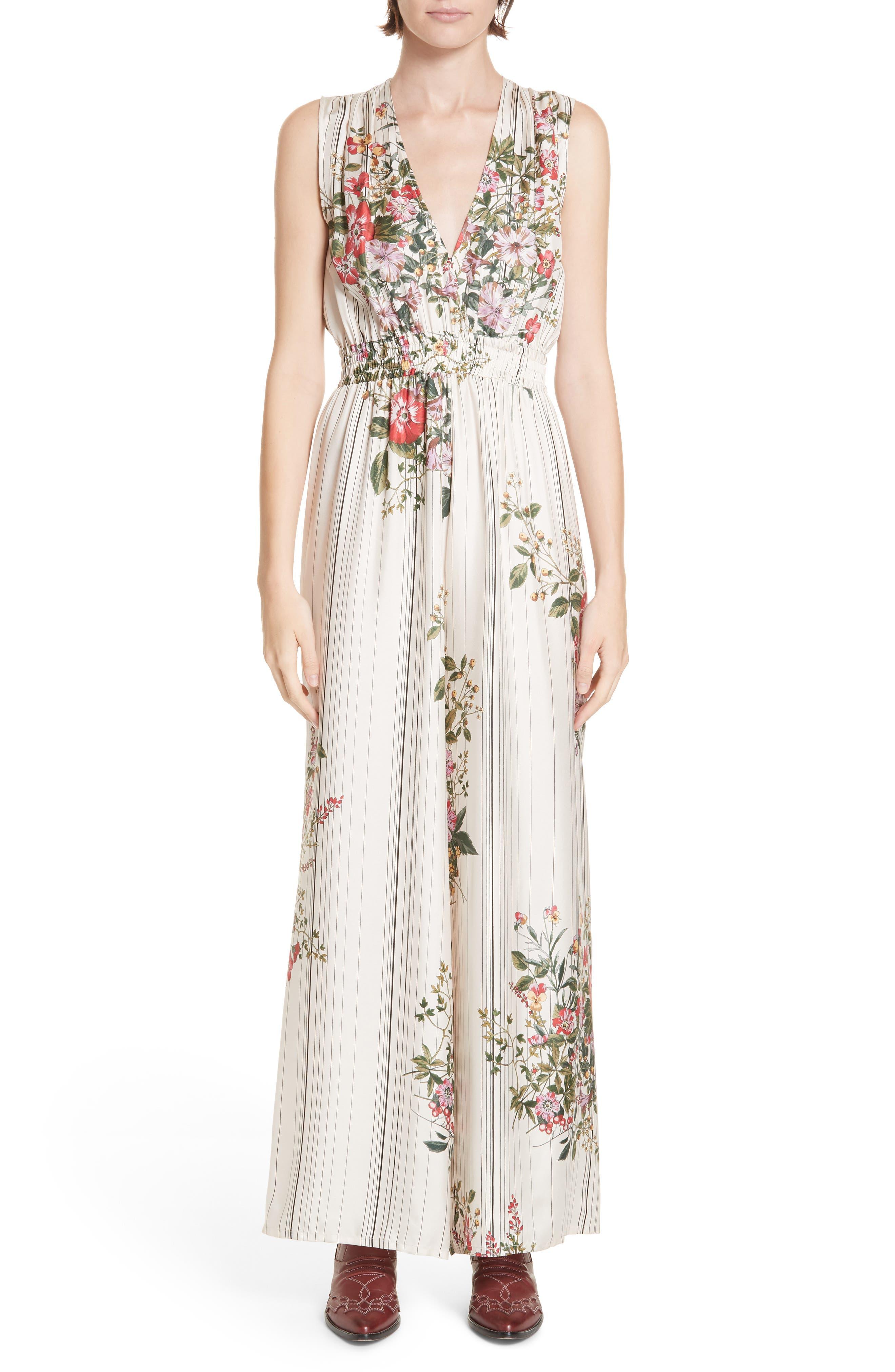 ROSEANNA Frisco Floral & Stripe Silk Jumpsuit in Multi Ivoire