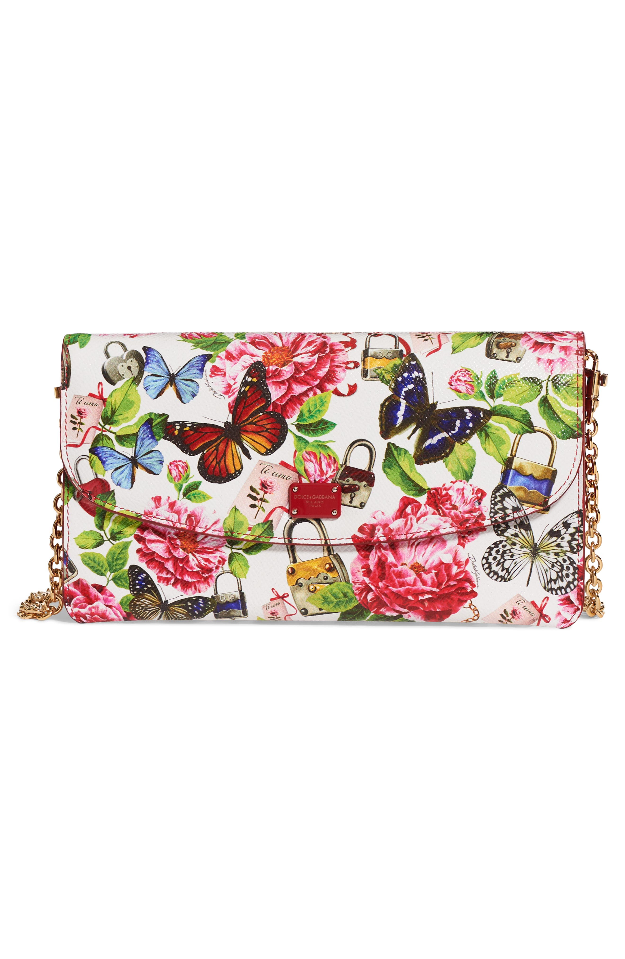 Floral Print Leather Wallet on a Chain,                             Alternate thumbnail 6, color,