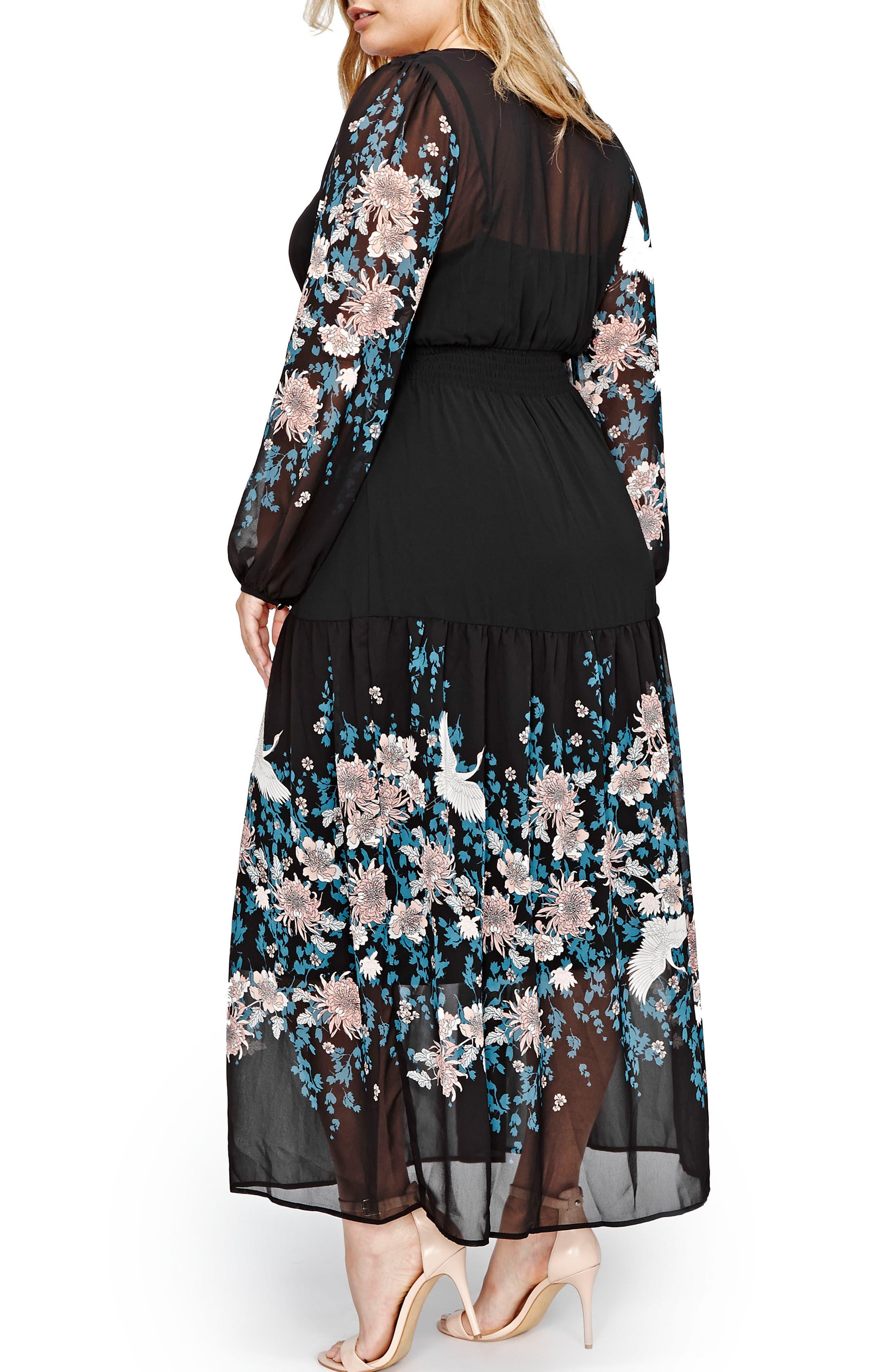 Border Print Chiffon Maxi Dress,                             Alternate thumbnail 2, color,                             001