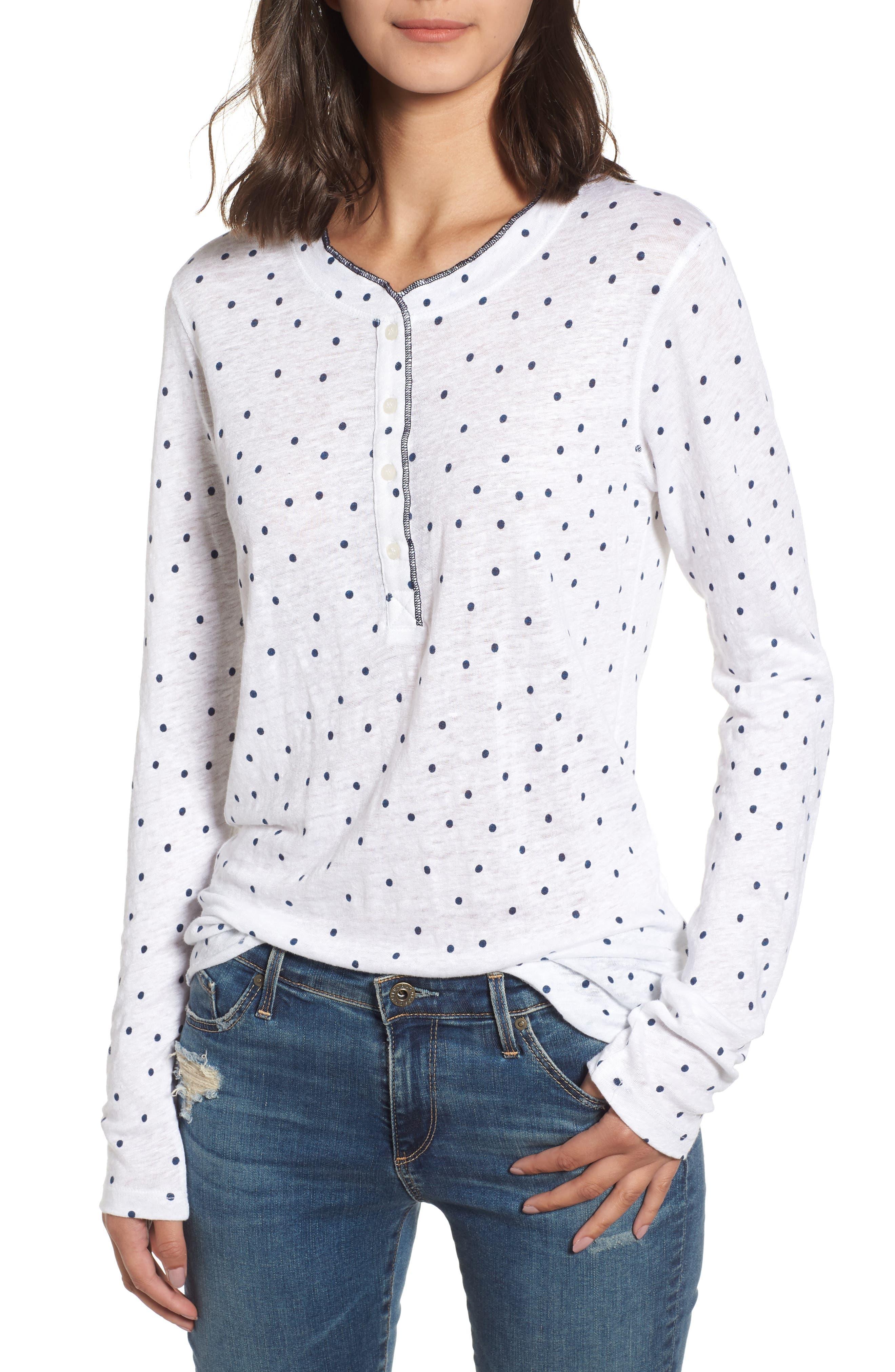 Dot Linen Henley Shirt,                             Main thumbnail 1, color,                             410