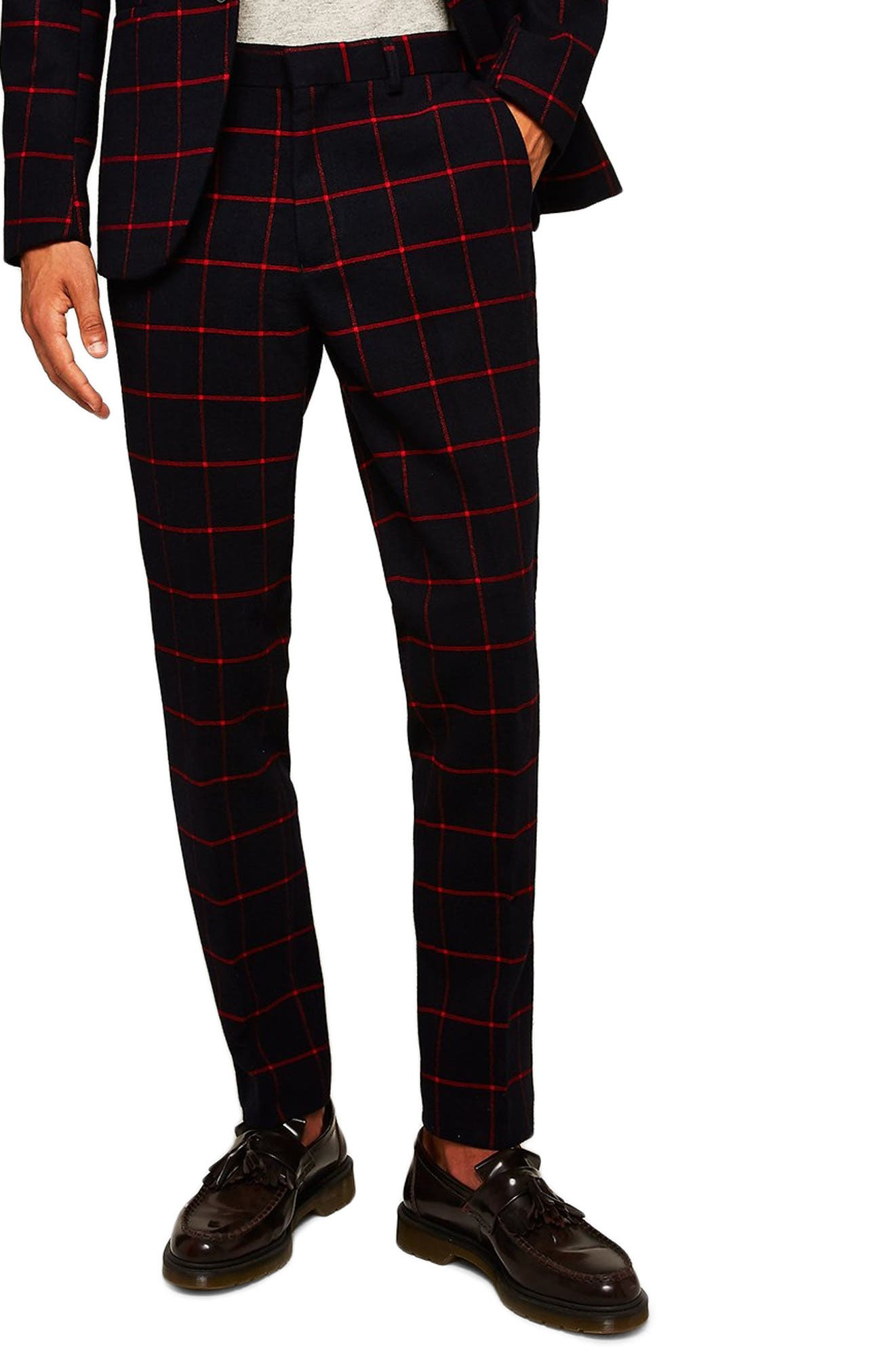Check Skinny Pants,                         Main,                         color, NAVY BLUE