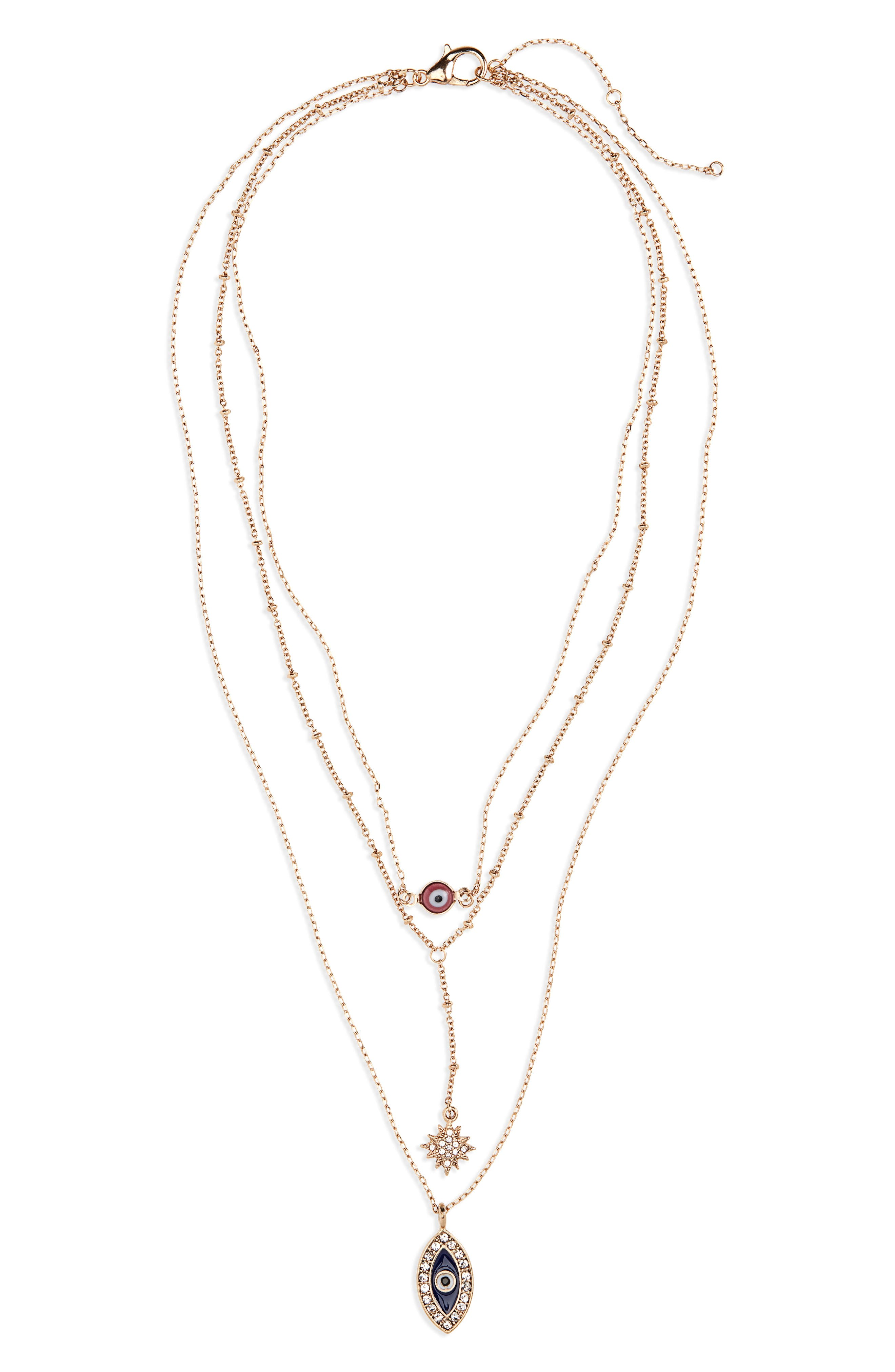 Layered Evil Eye Charm Necklace,                         Main,                         color, 710