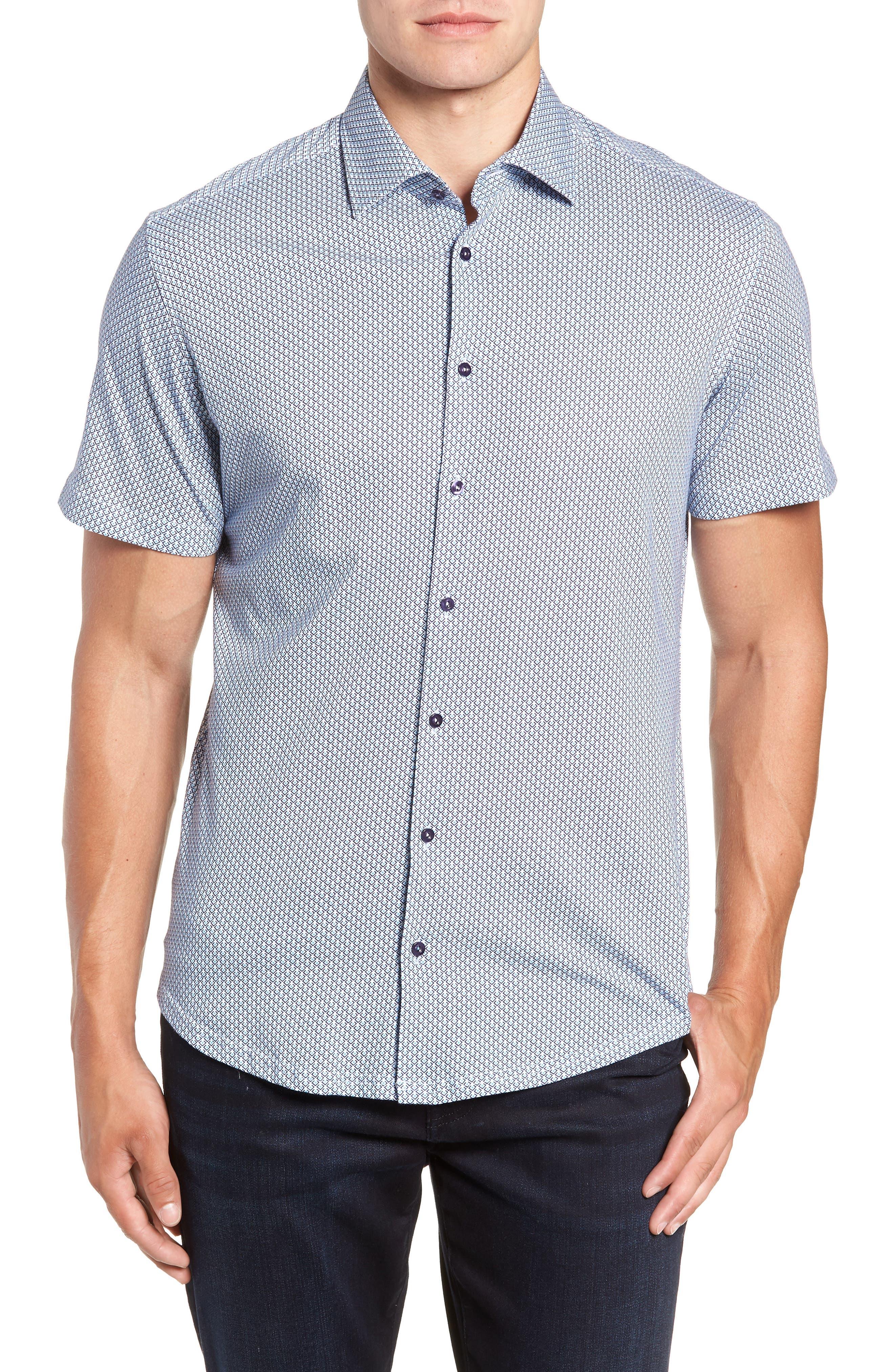 Trim Fit Geo Print Sport Shirt,                         Main,                         color, BLUE